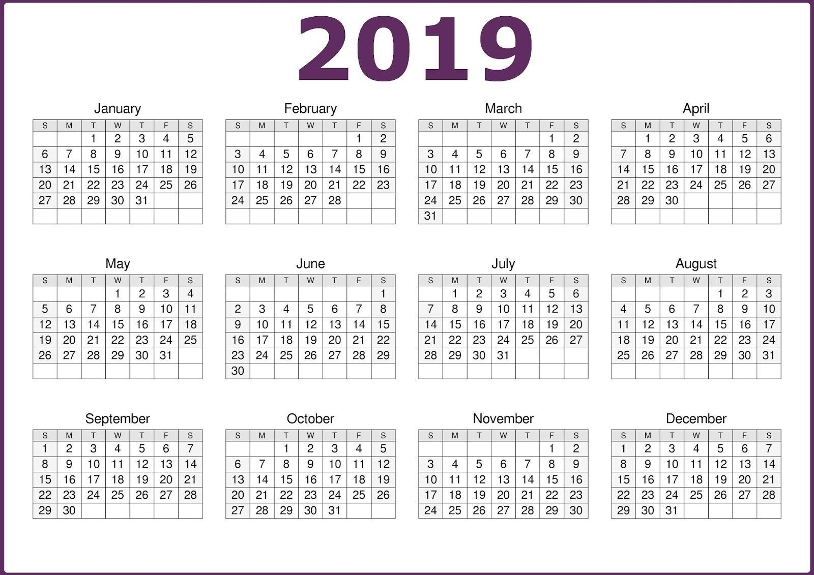 Take Calendar For All 12 Months