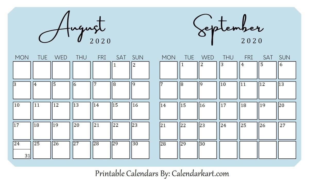 Take Calendar For August And September
