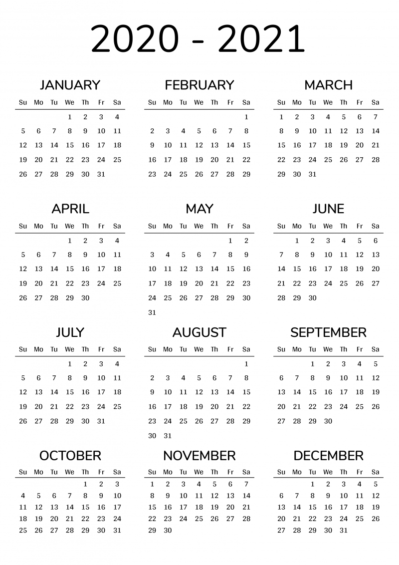 Take Calendar For August Through December 2021