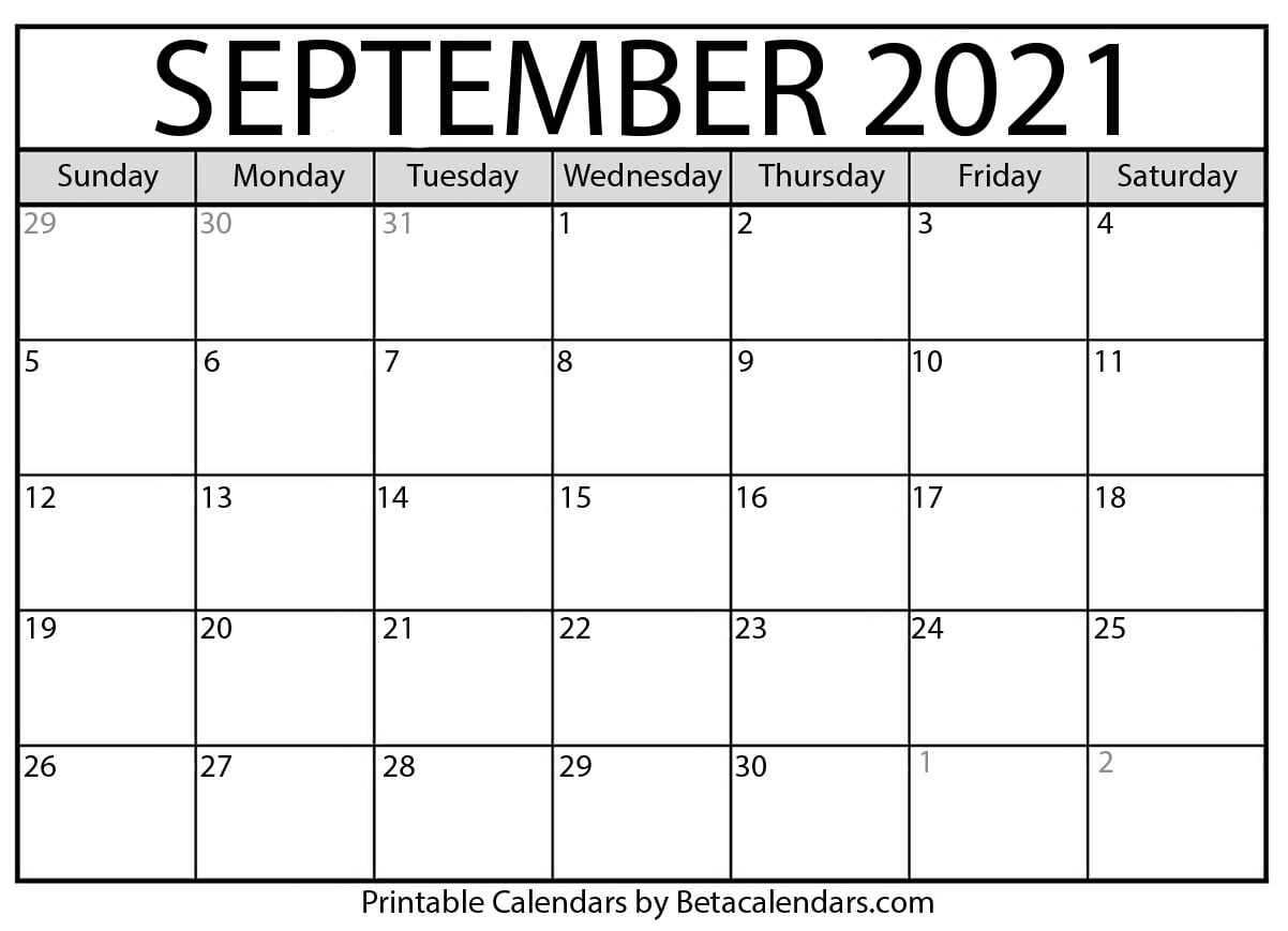 Take Calendar For September 2021 With Large Numbers
