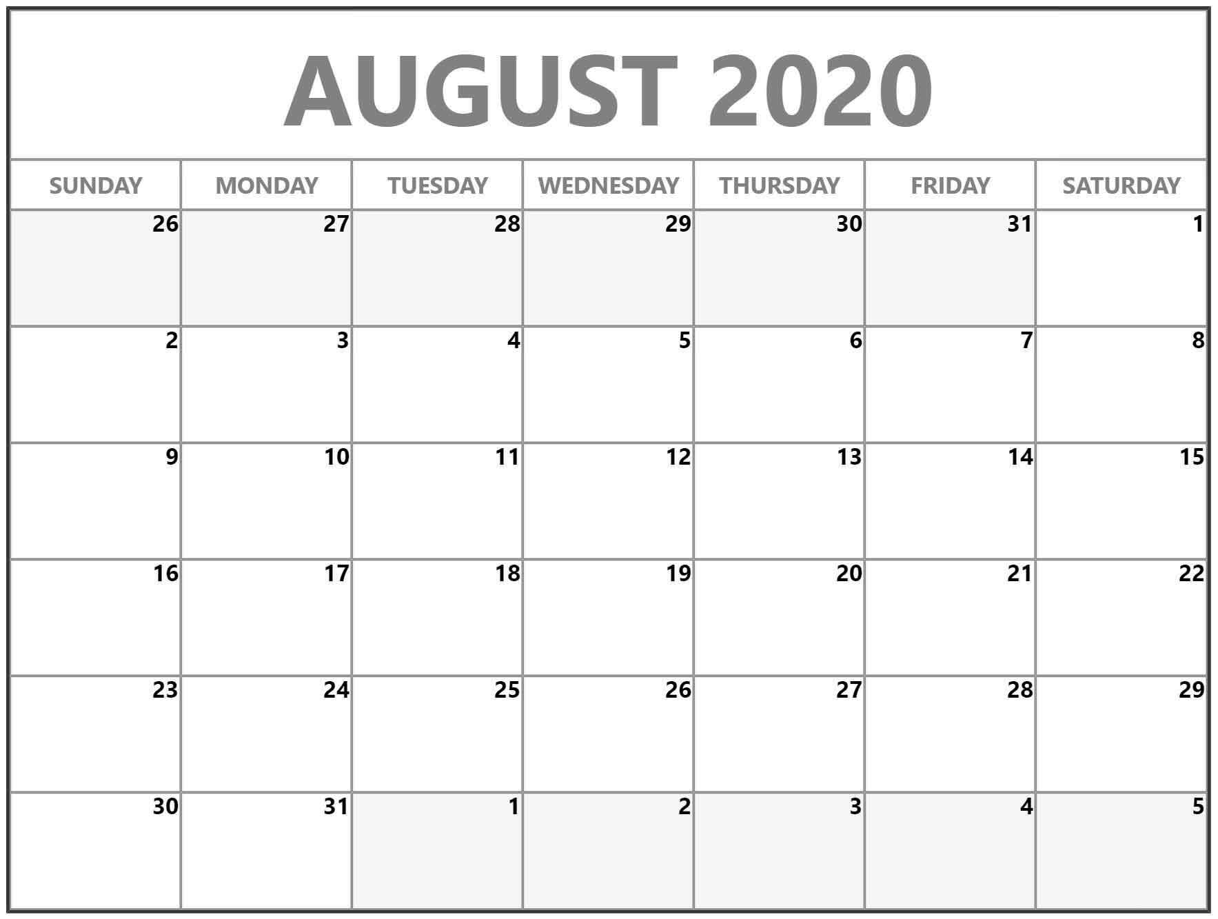 Take Calendar Month Of August