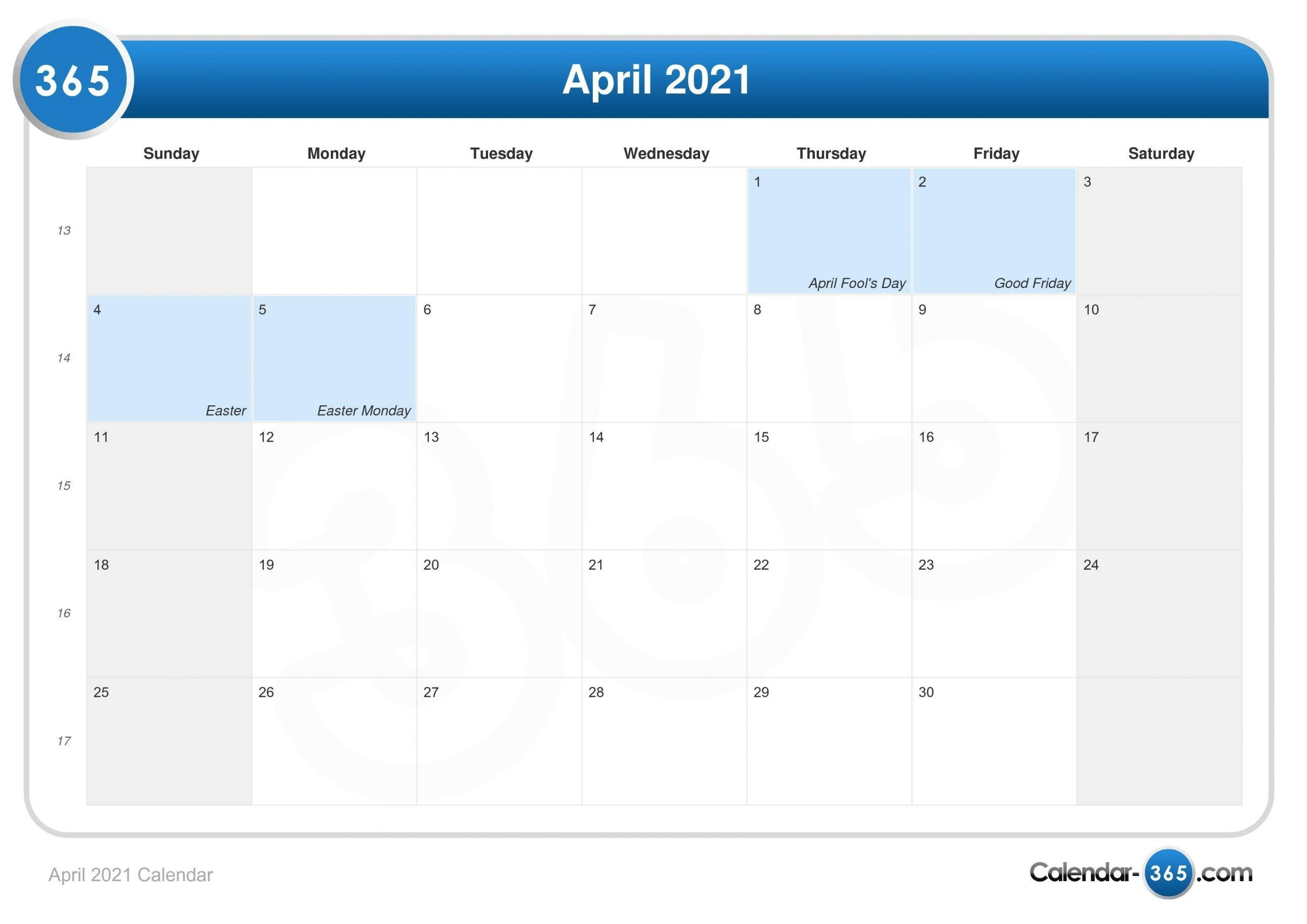 Take Calendar Of April 2021 School