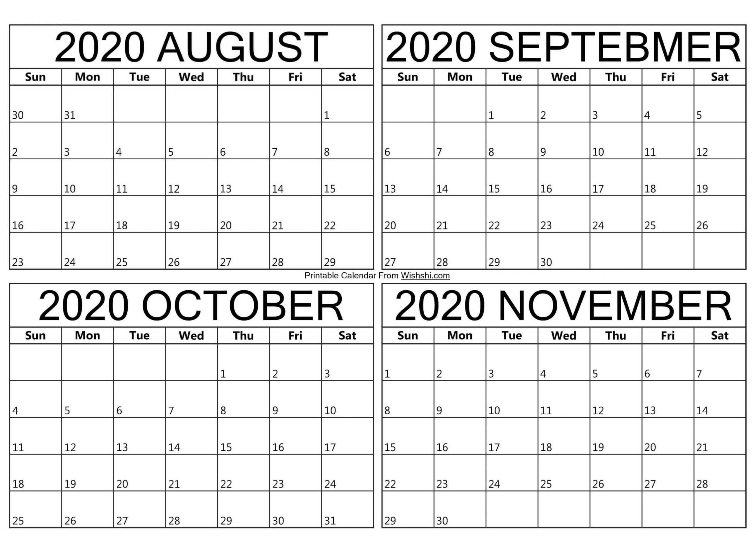 Take Calendar Of August Through October 2021