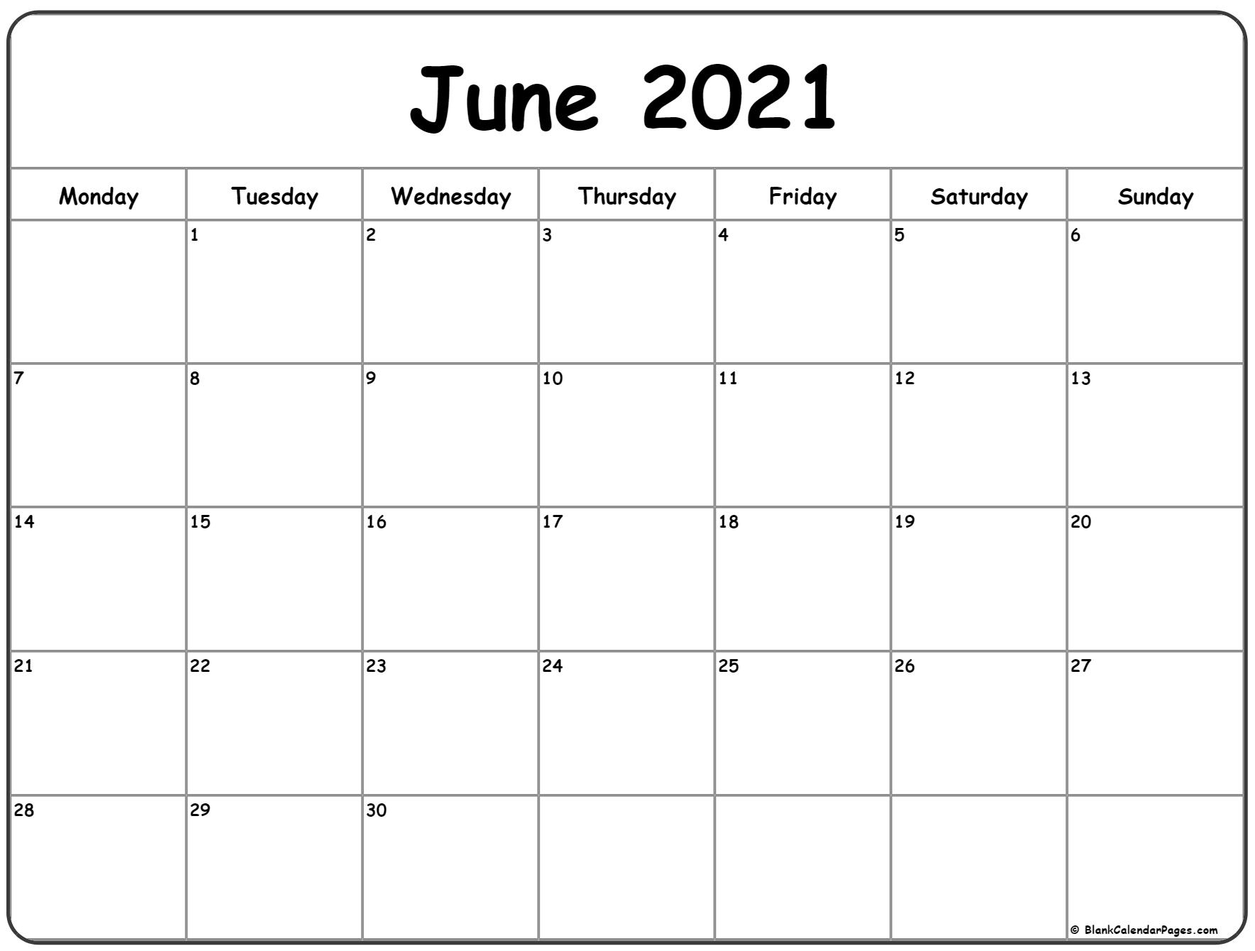 Take Calendar Page 2021 June And July