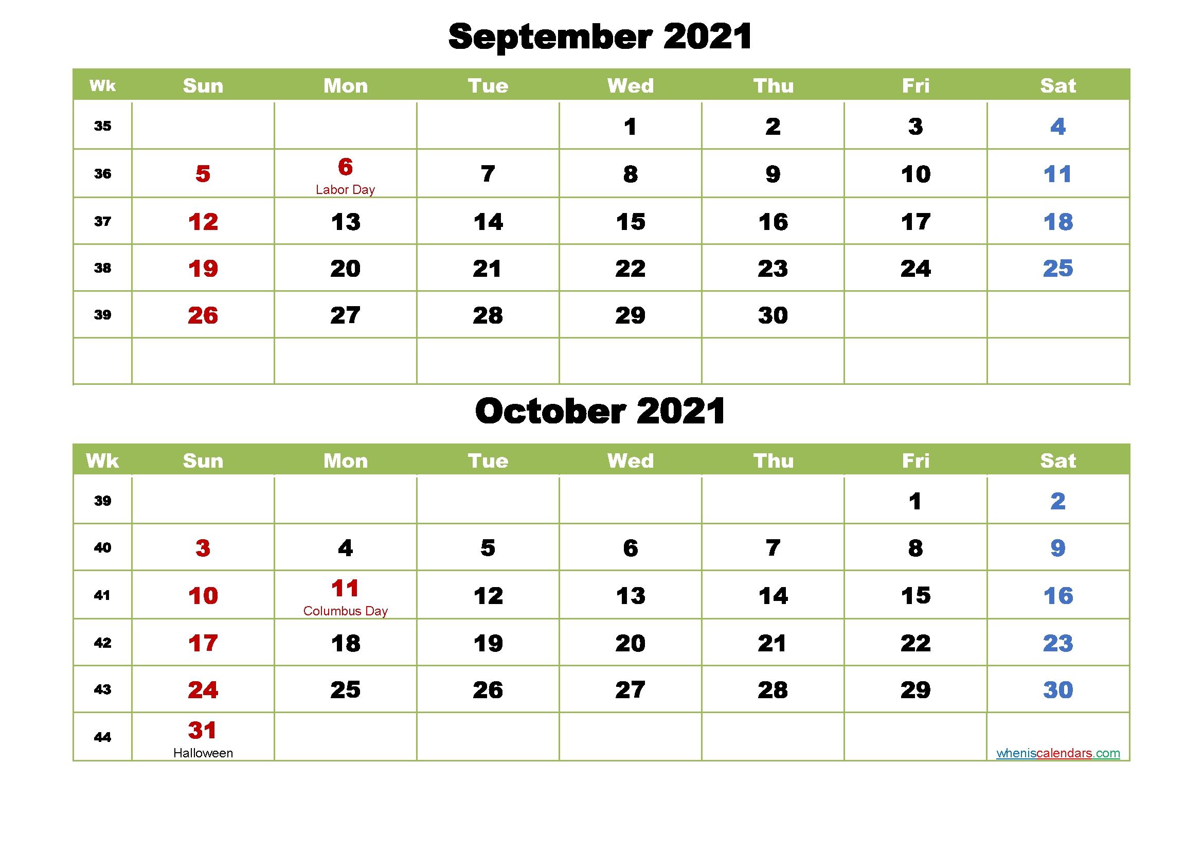 Take Calendar September October 2021