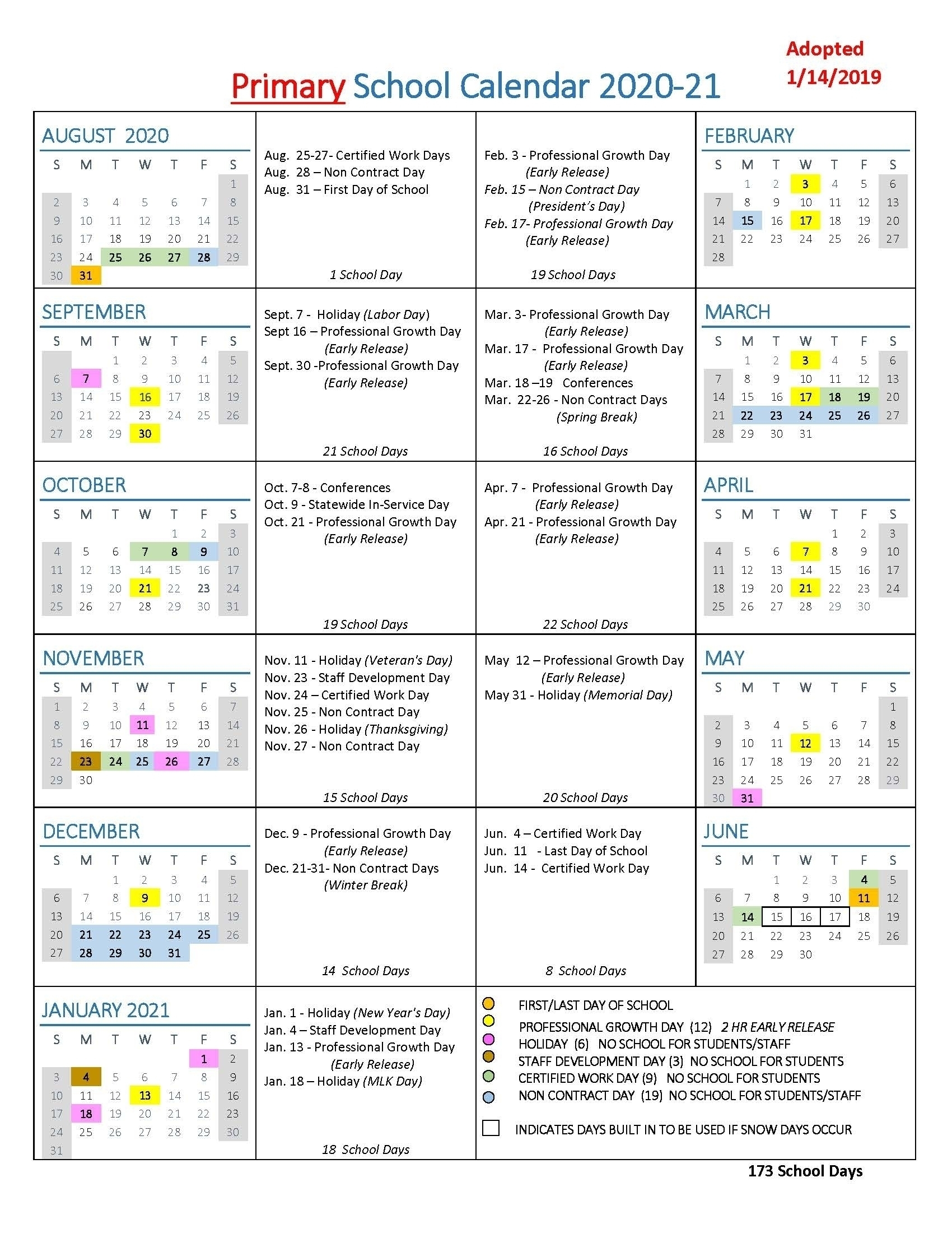 Take Calendar With All Special Days