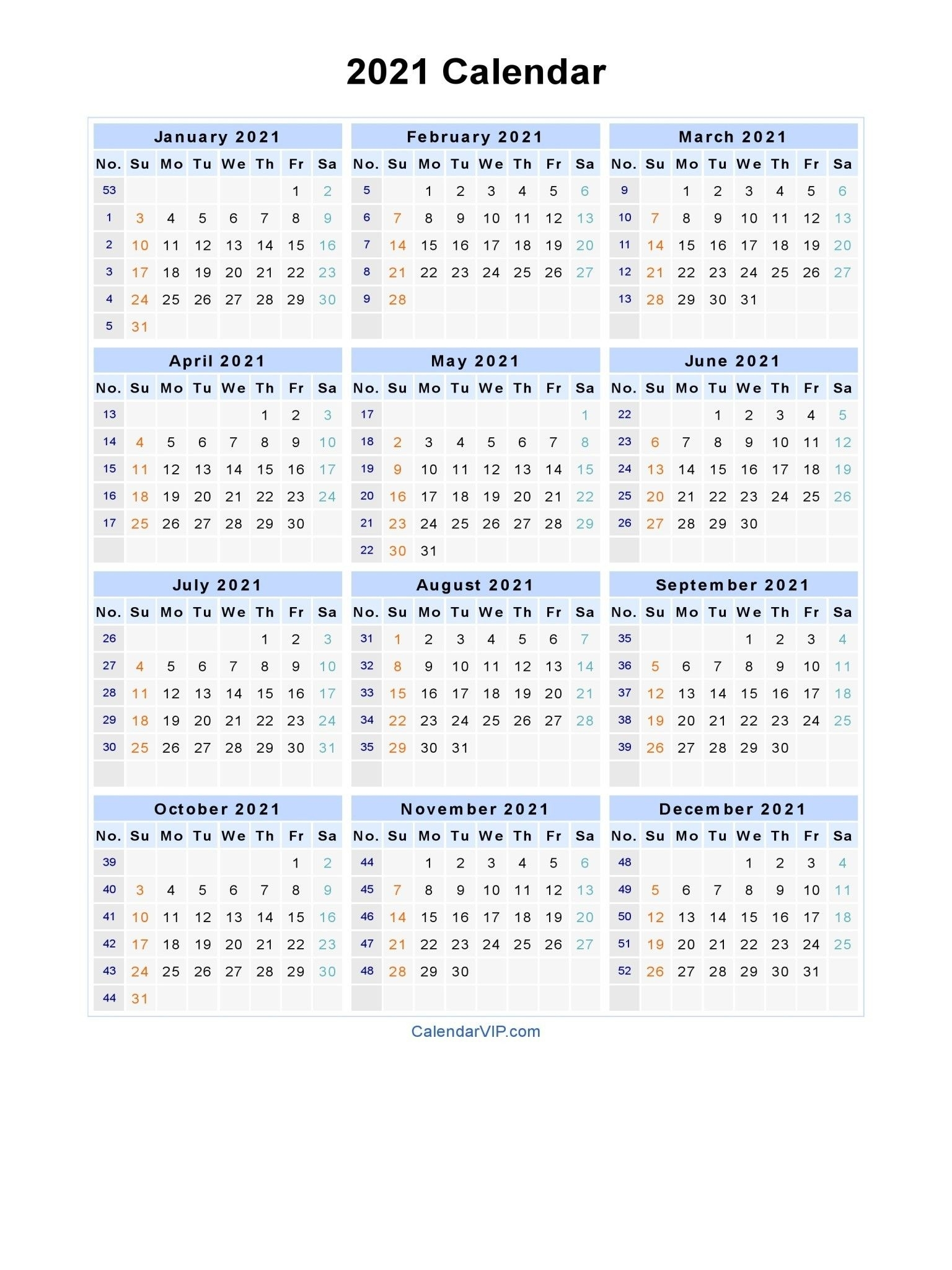 Take Calendar With Days Numbered For 2021