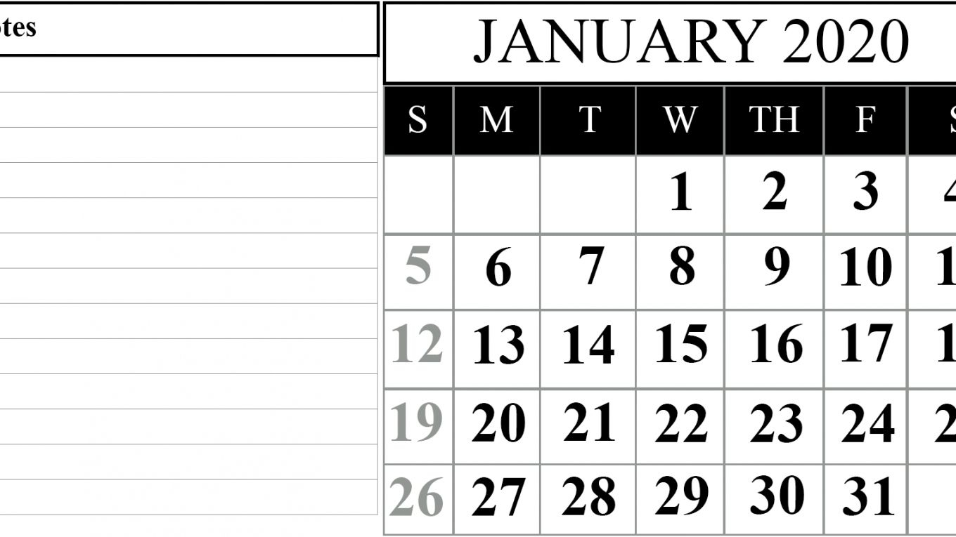 Take Calendar With Space To Write Print Out