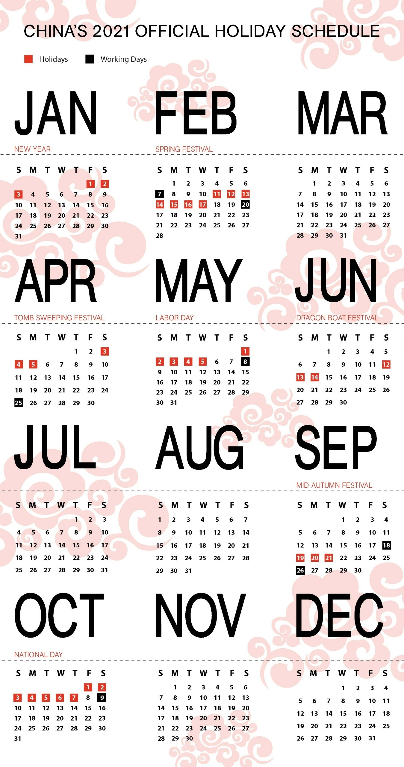 Take China Holiday Calendar 2021