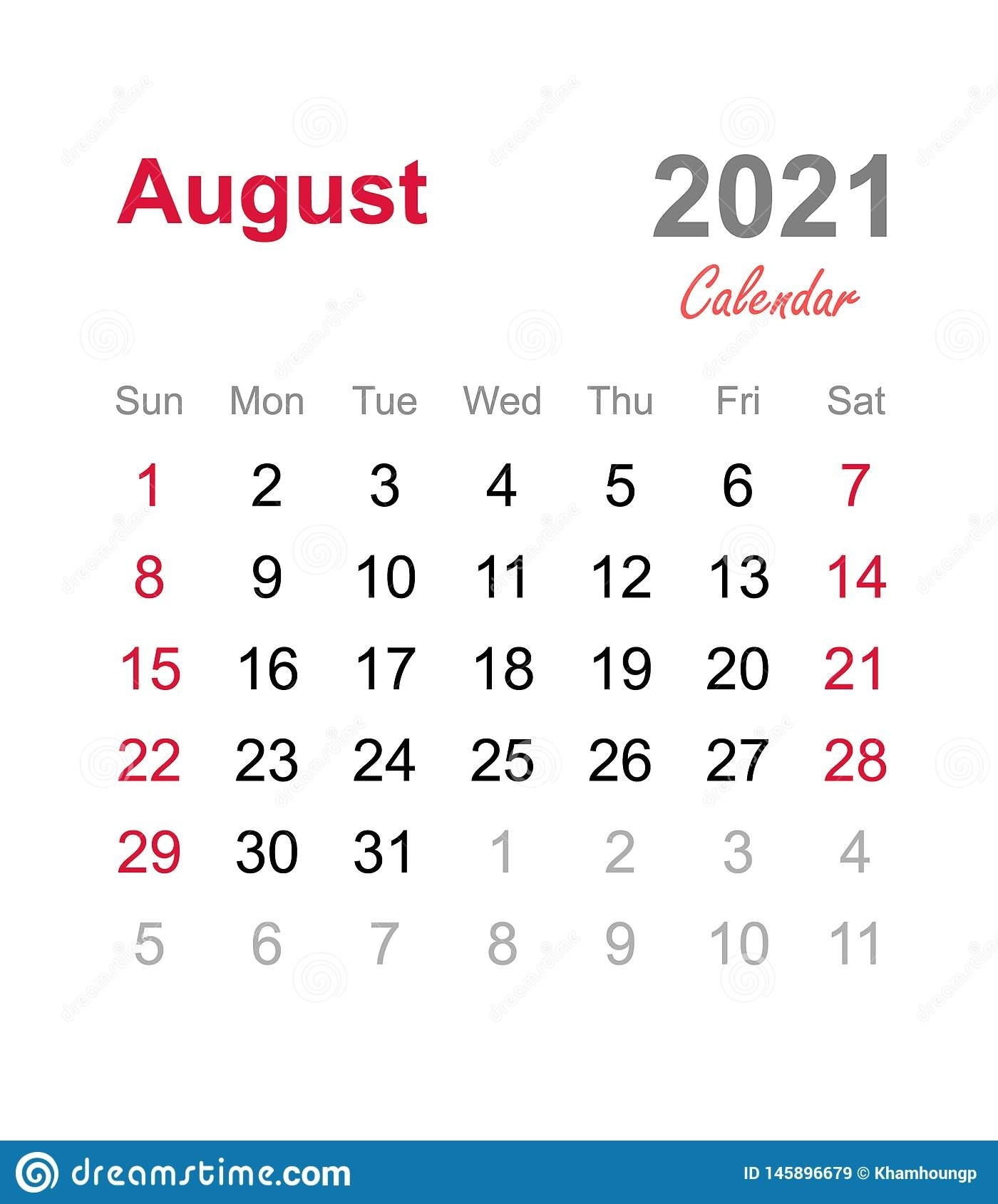 Take Clip Art Calendar For August 2021
