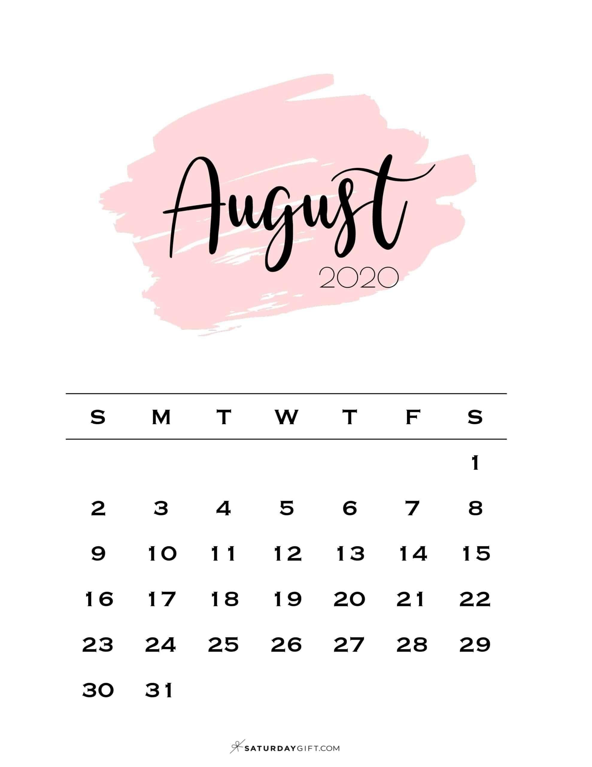 Take Cute Printable August Calendar 2021