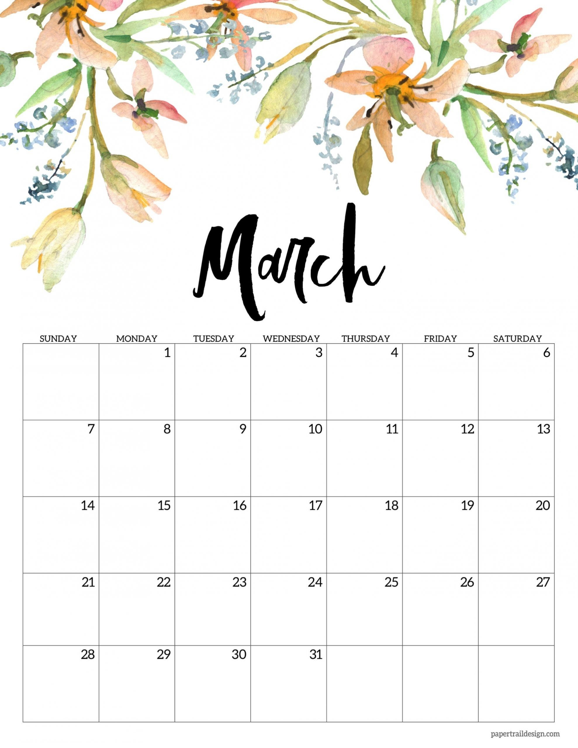 Take Cute Printable Calendar 2021 Monthly Free