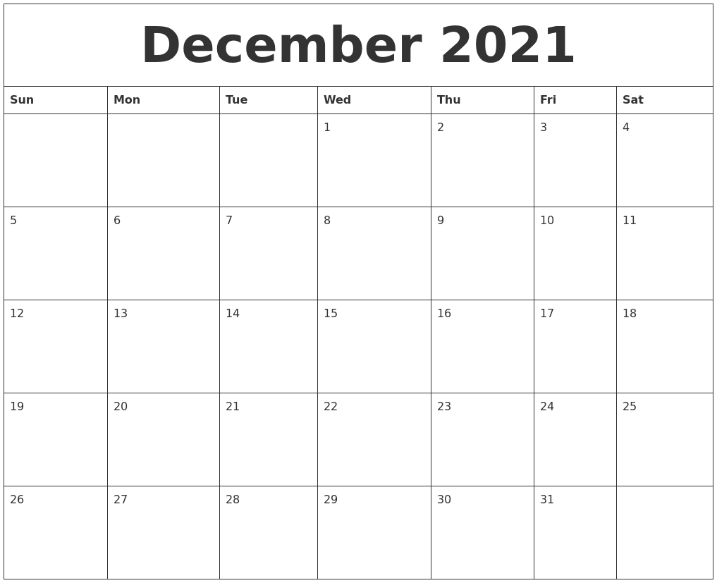 Take Cute Printable Pdf December 2021 Calander
