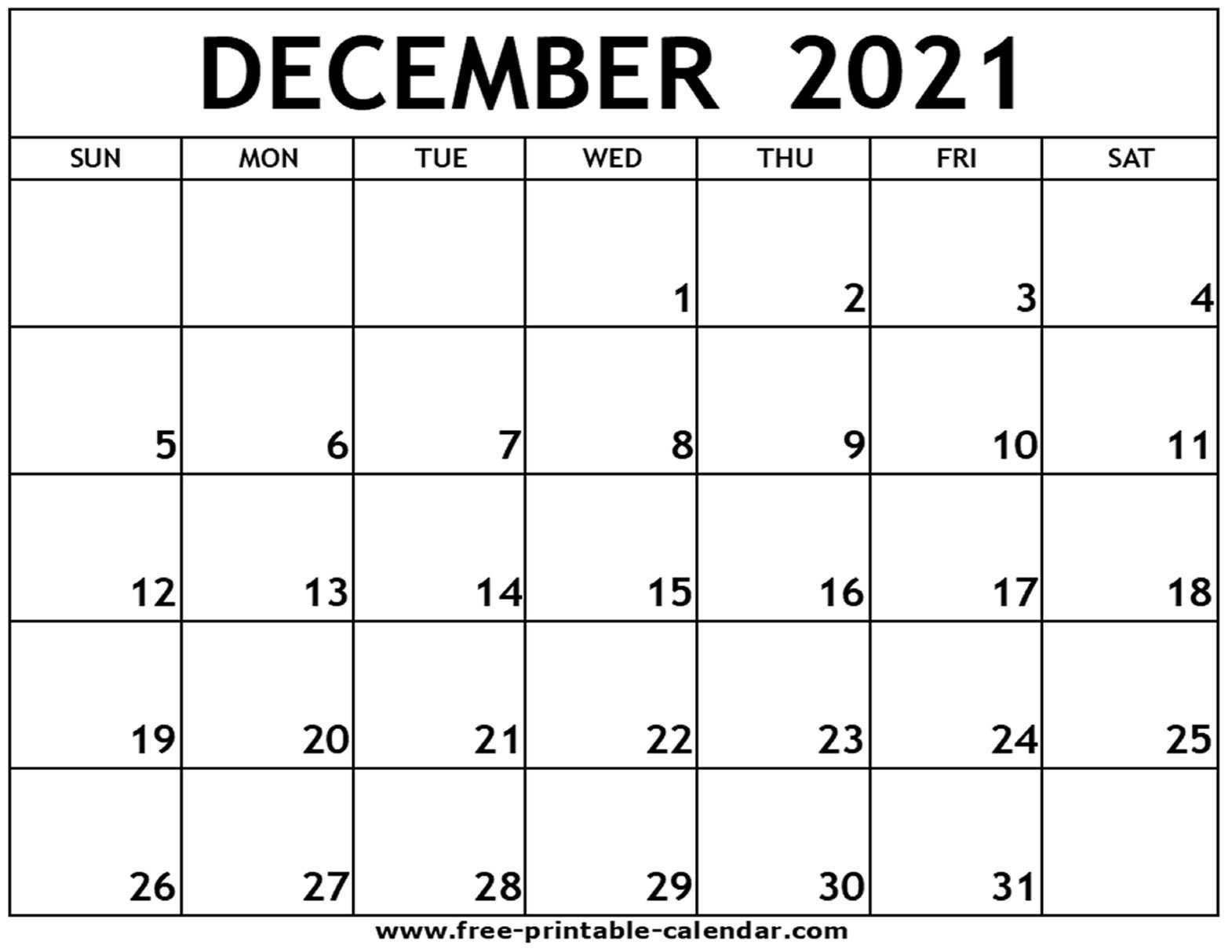 Take December 2021 Blank Calander