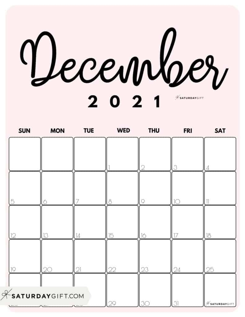 Take December 2021 Calendar Girly