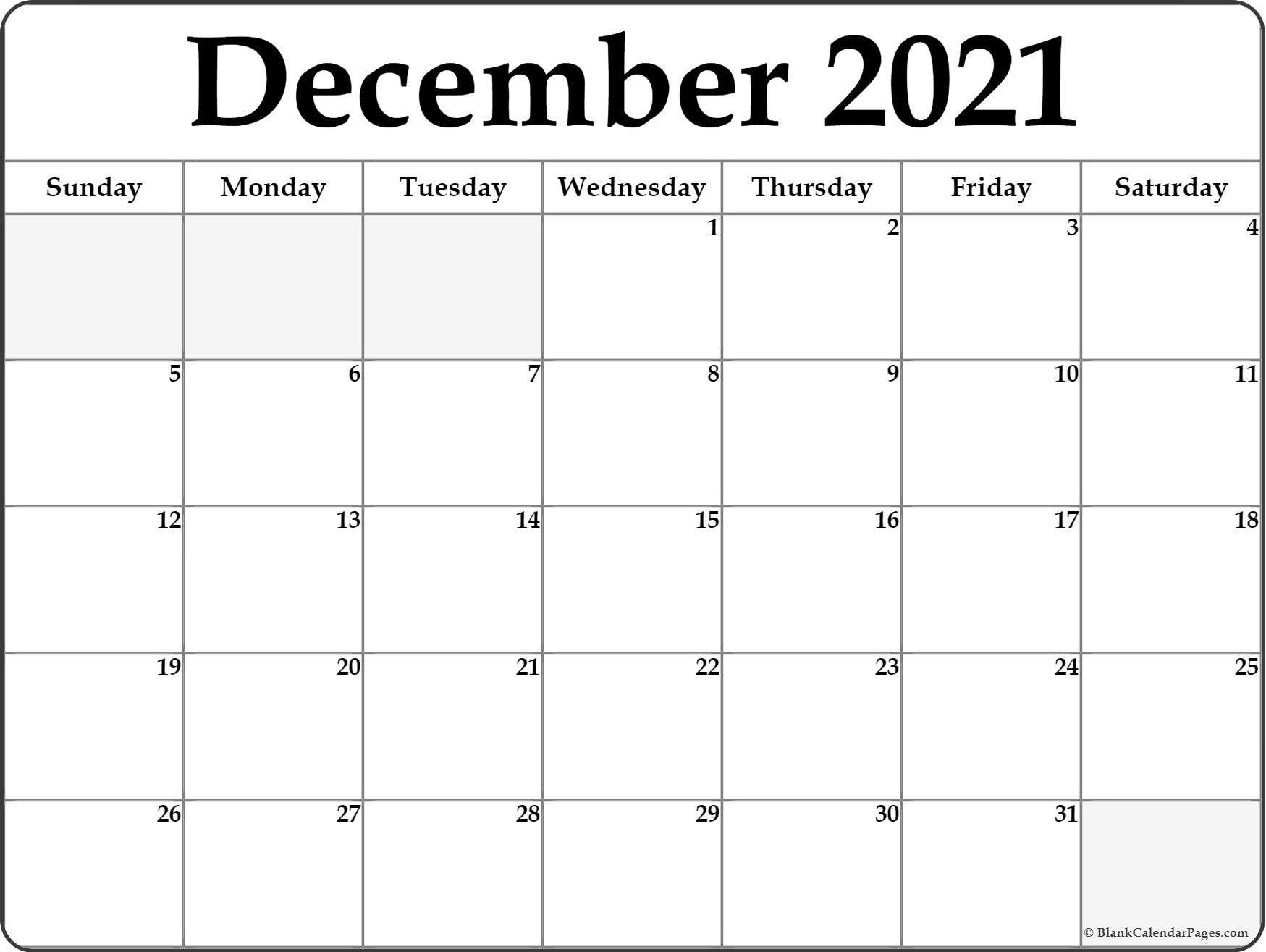 Take December Calendar Page 2021