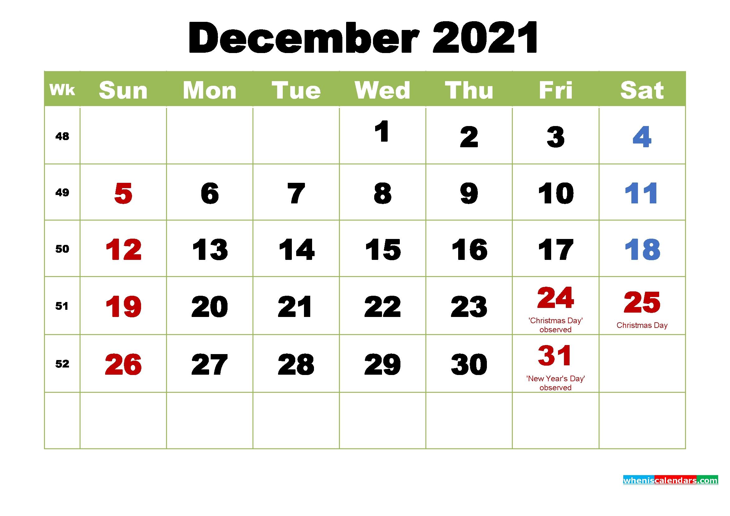 Take December Christmas 2021 Calendar Template