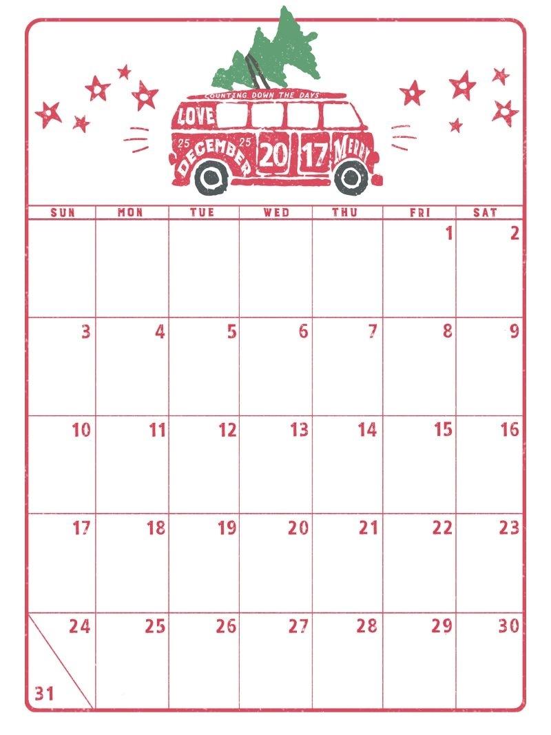 Take December Christmas Calendar Printable