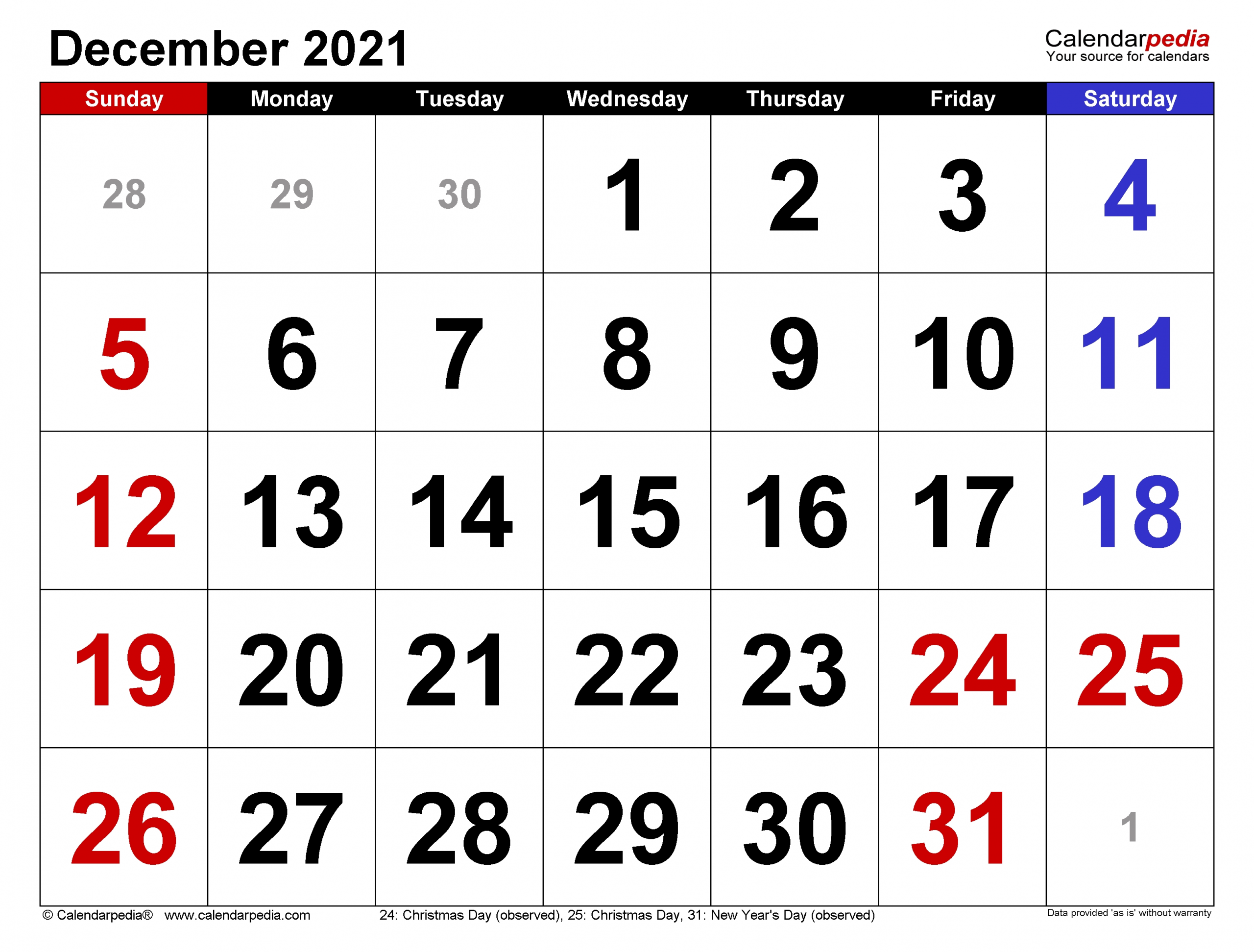 Take Decembers Calender For 2021