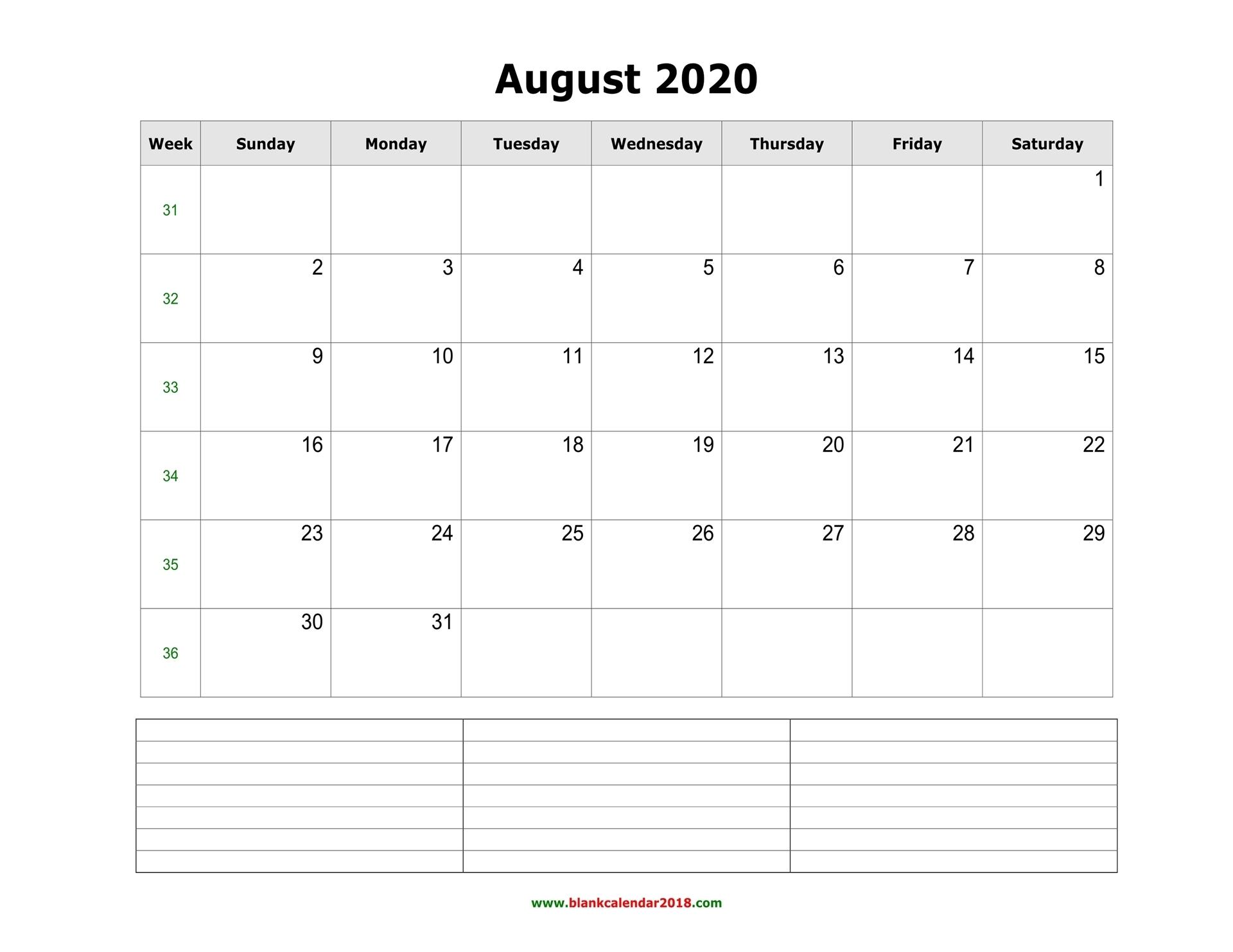 Take Empty Calendar August Through October
