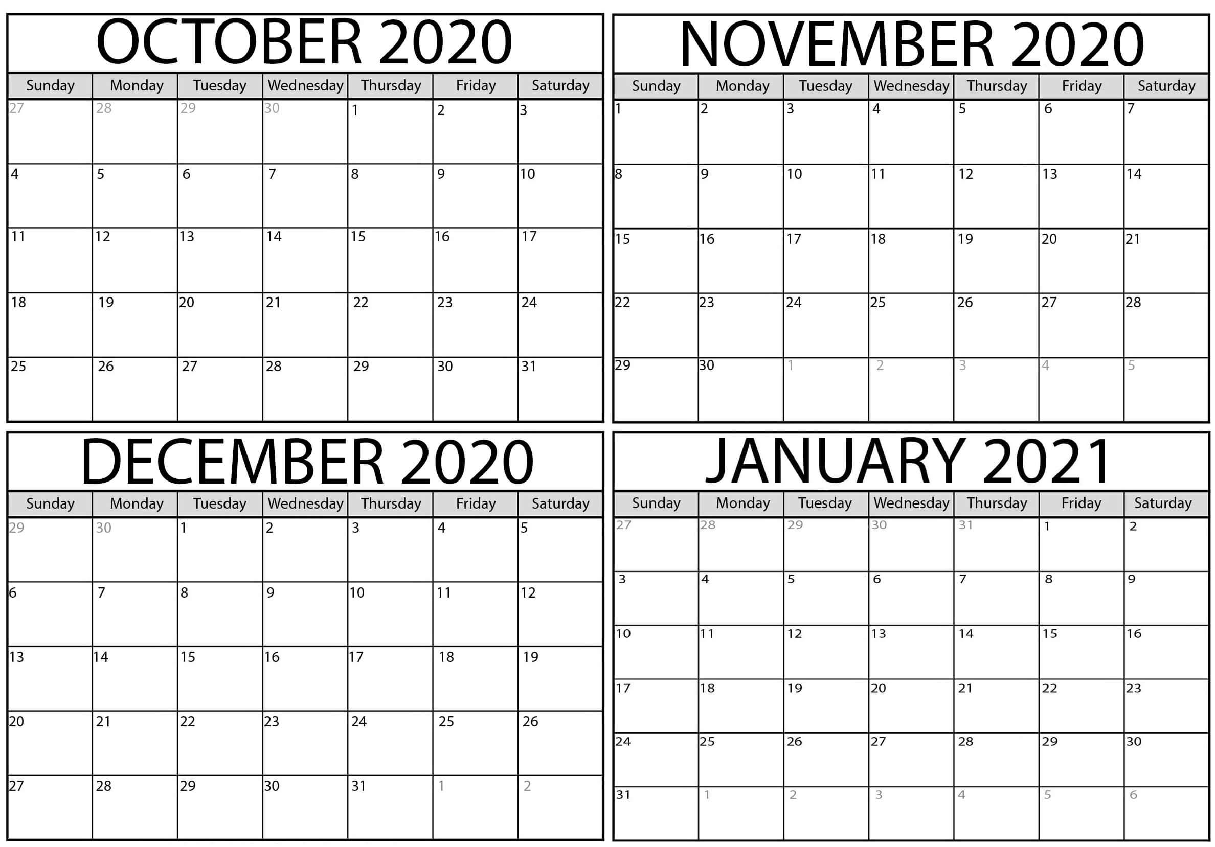Take Excel Calendar October 2021 Through December 2021
