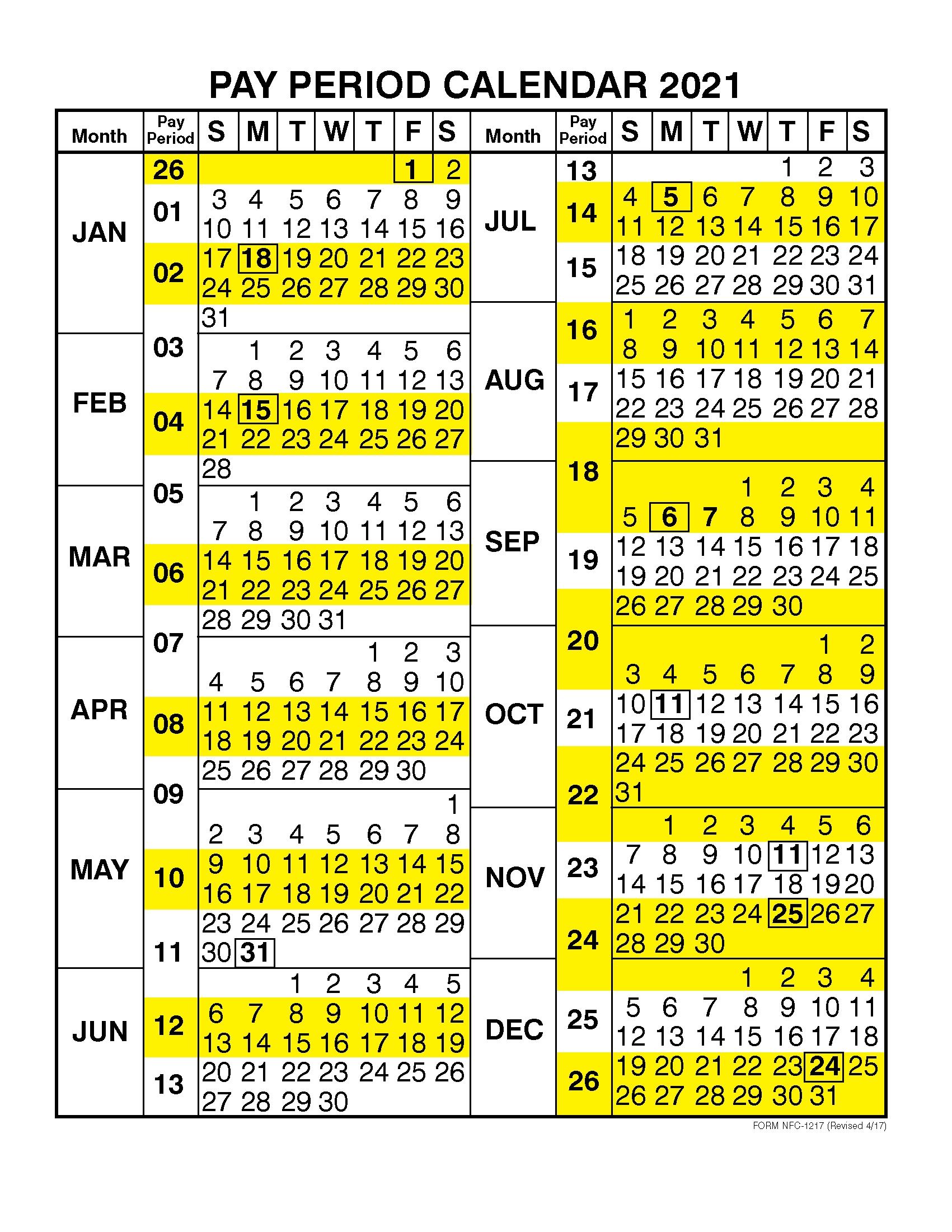 Take Federal Pay Period Calendar 2021