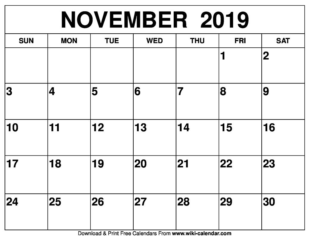 Take Festive November Calendar Blank
