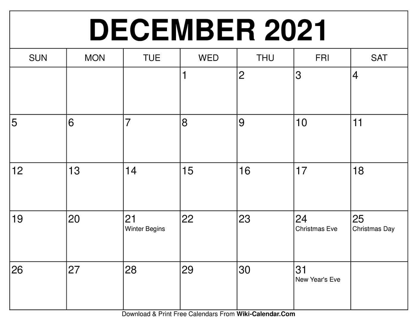 Take Fill In December Calendar 2021