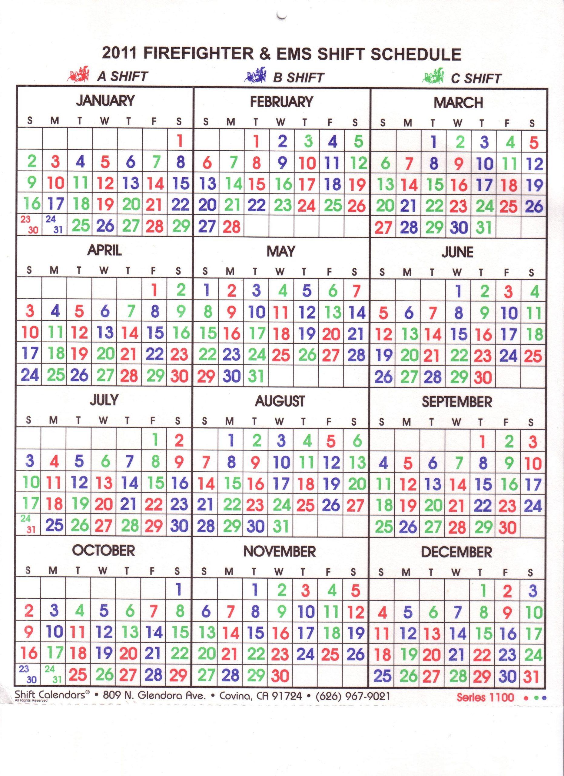 Take Fire Department Calendar 24/48 Shift