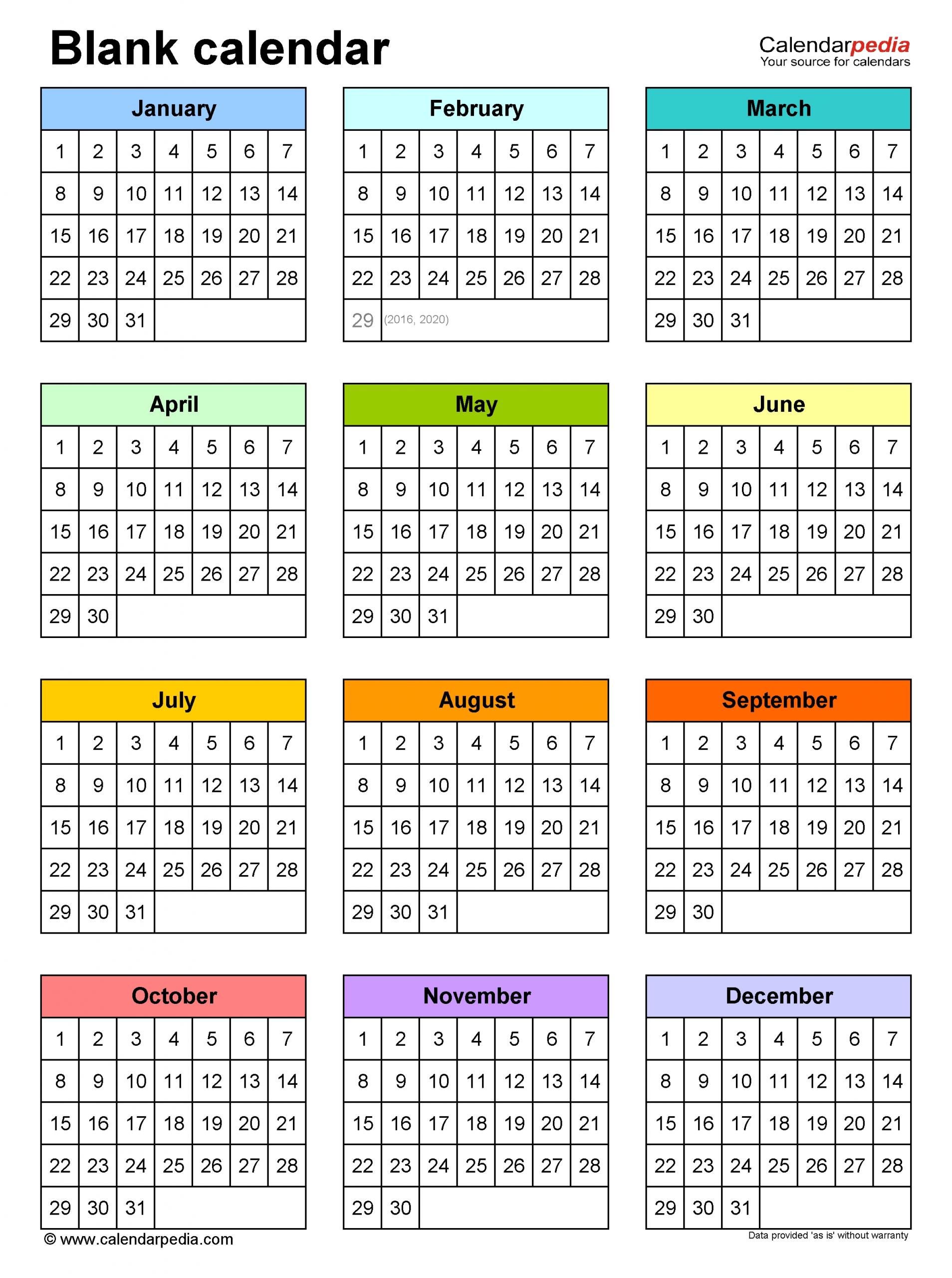 Take Four Month Calendar Template Word