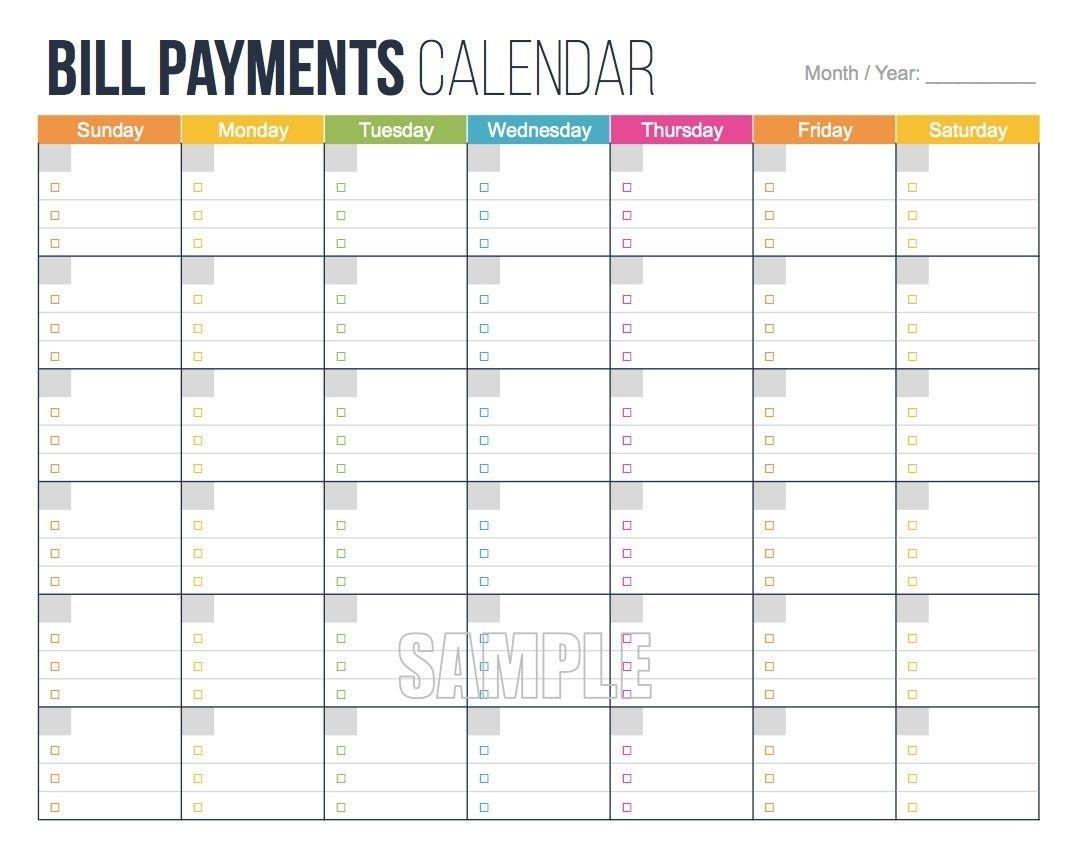 Take Free Calendar For Bills Due