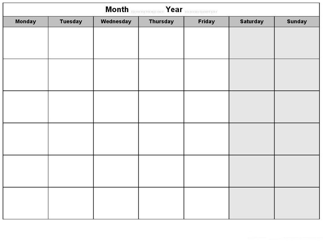 Take Free Calendars Monday Thru Sunday