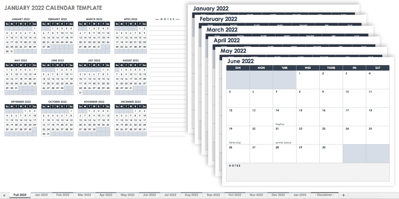 Take Free Editable Monthly Calendar Template
