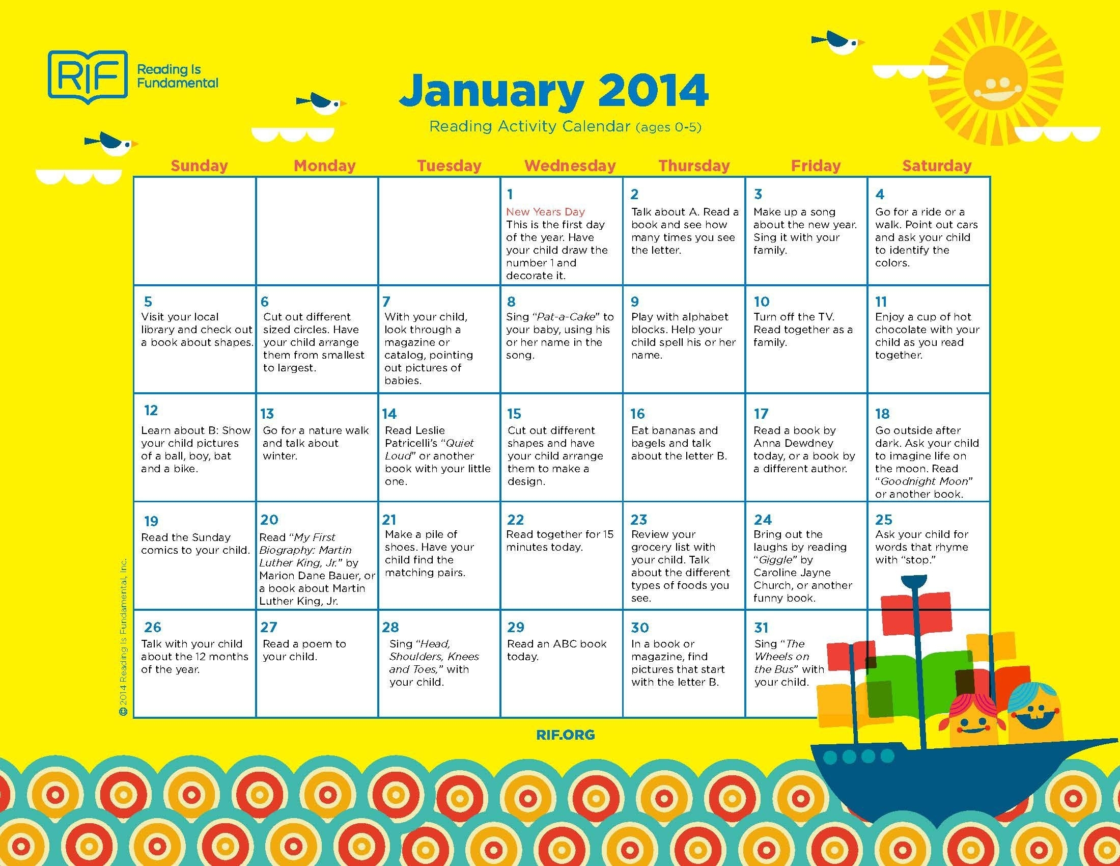 Take Free Monthly Activities Calendar
