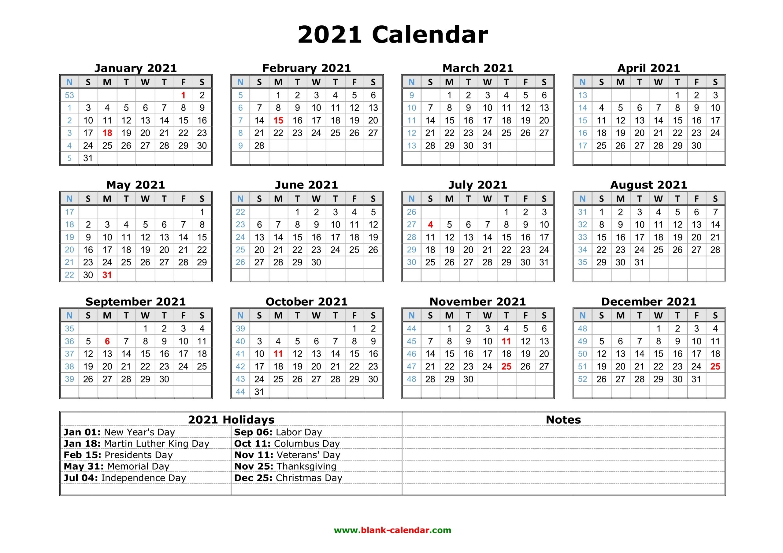 Take Free Printable 2021 Calendar With Holidays Us