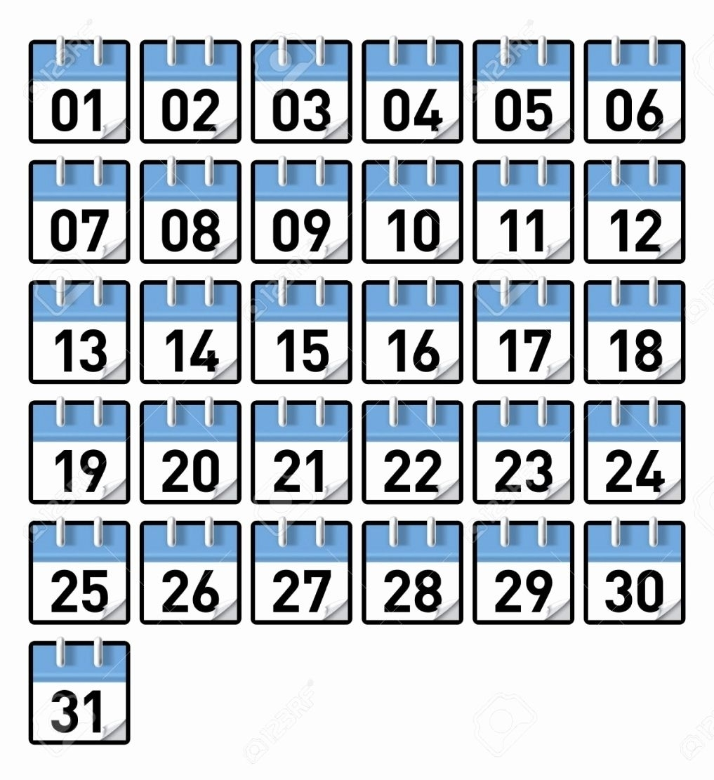 Take Free Printable Calendar Numbers 1 31