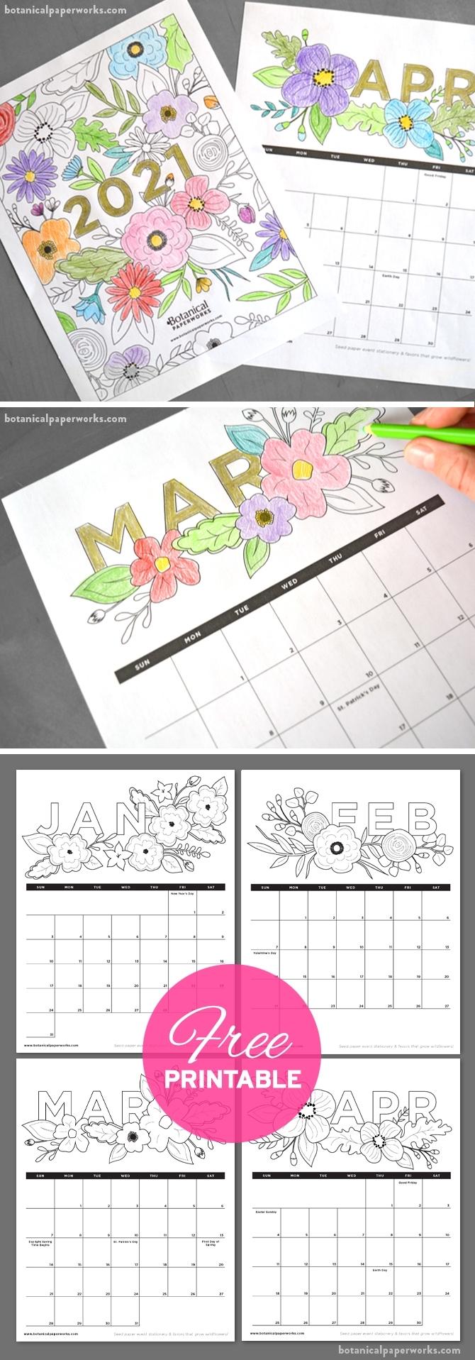Take Free Printable Coloring Calendar 2021