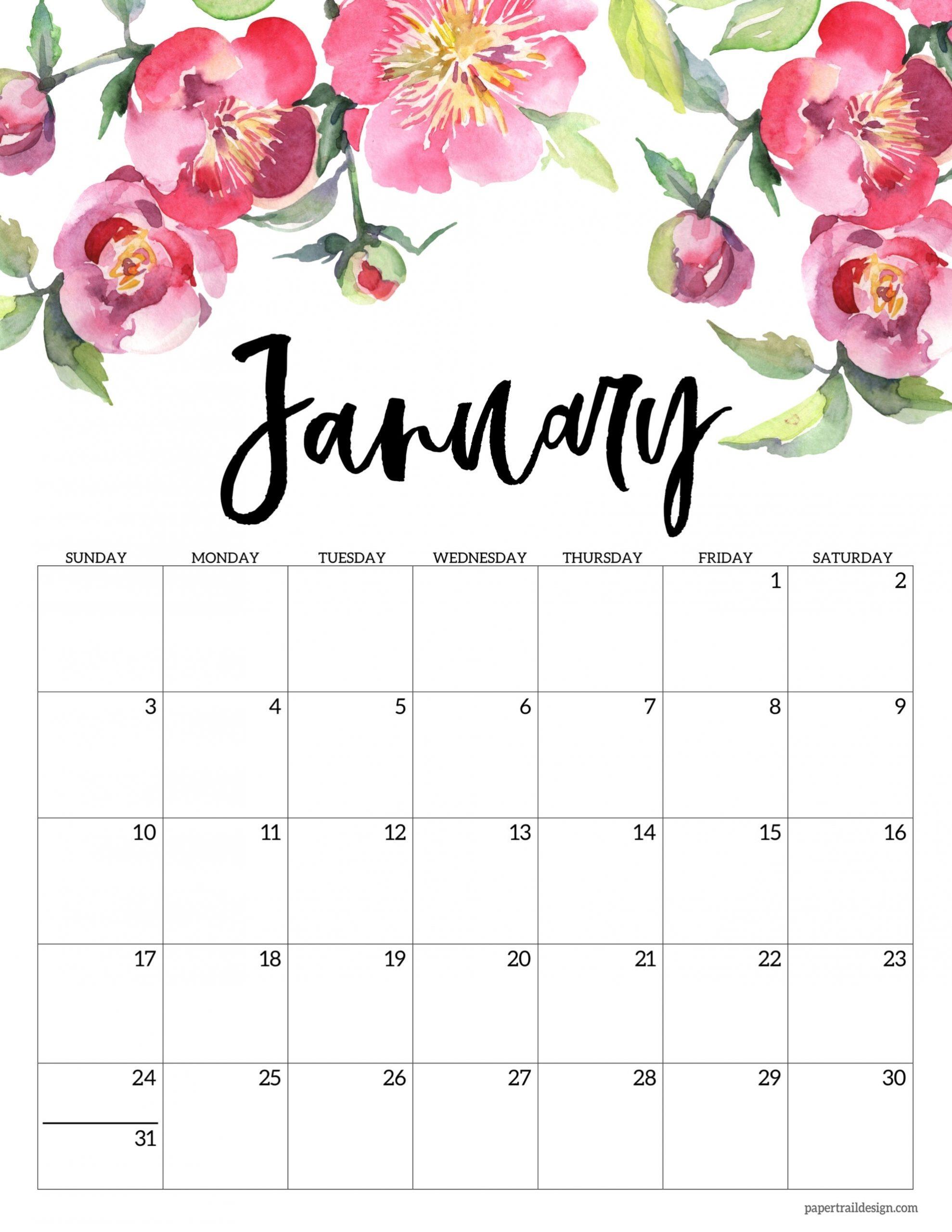 Take Free Printable Floral Calendar 2021