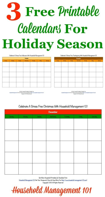 Take Free Printable Holiday Calendars