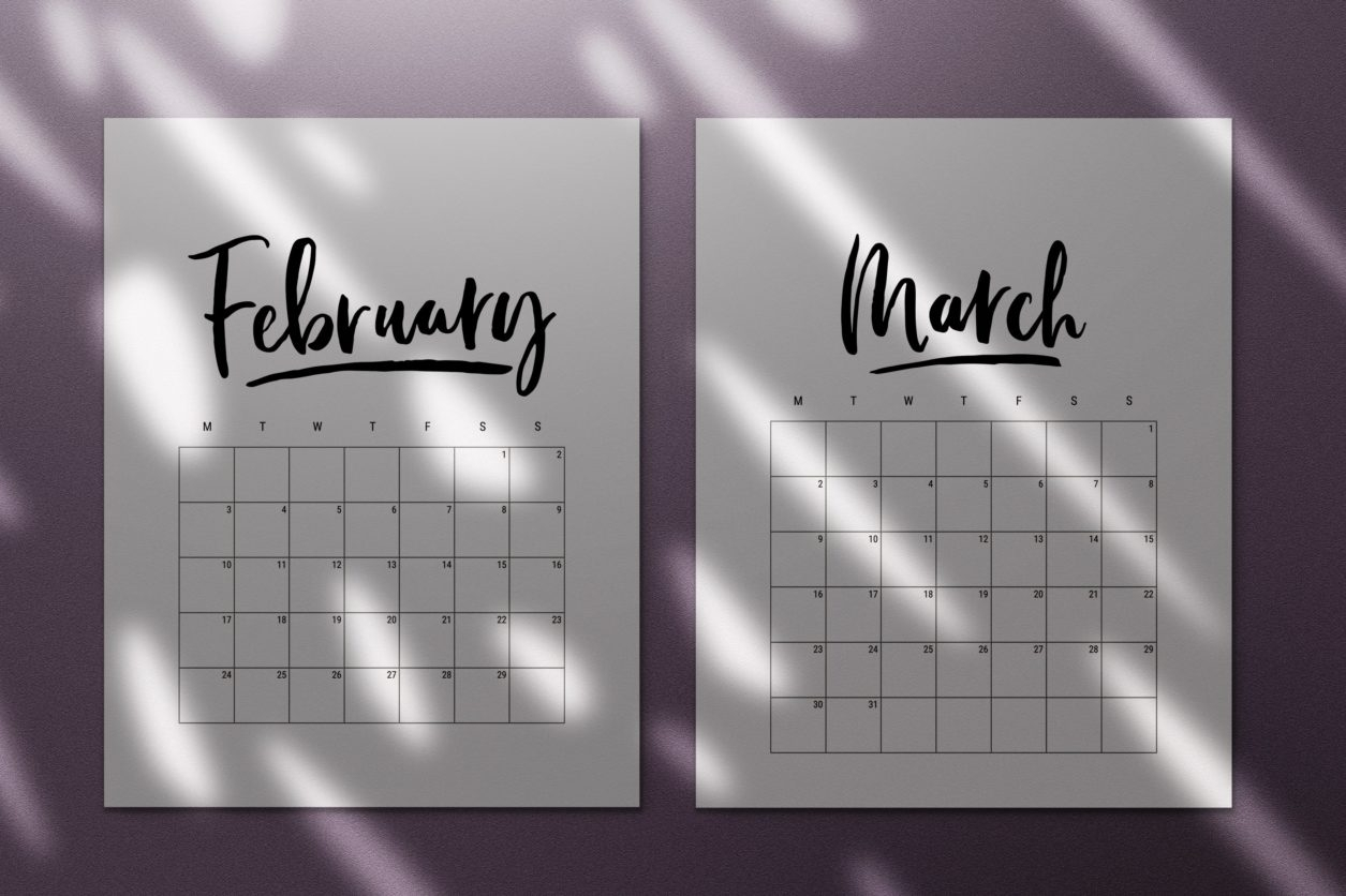 Take Free Printable Large Grid Calendar