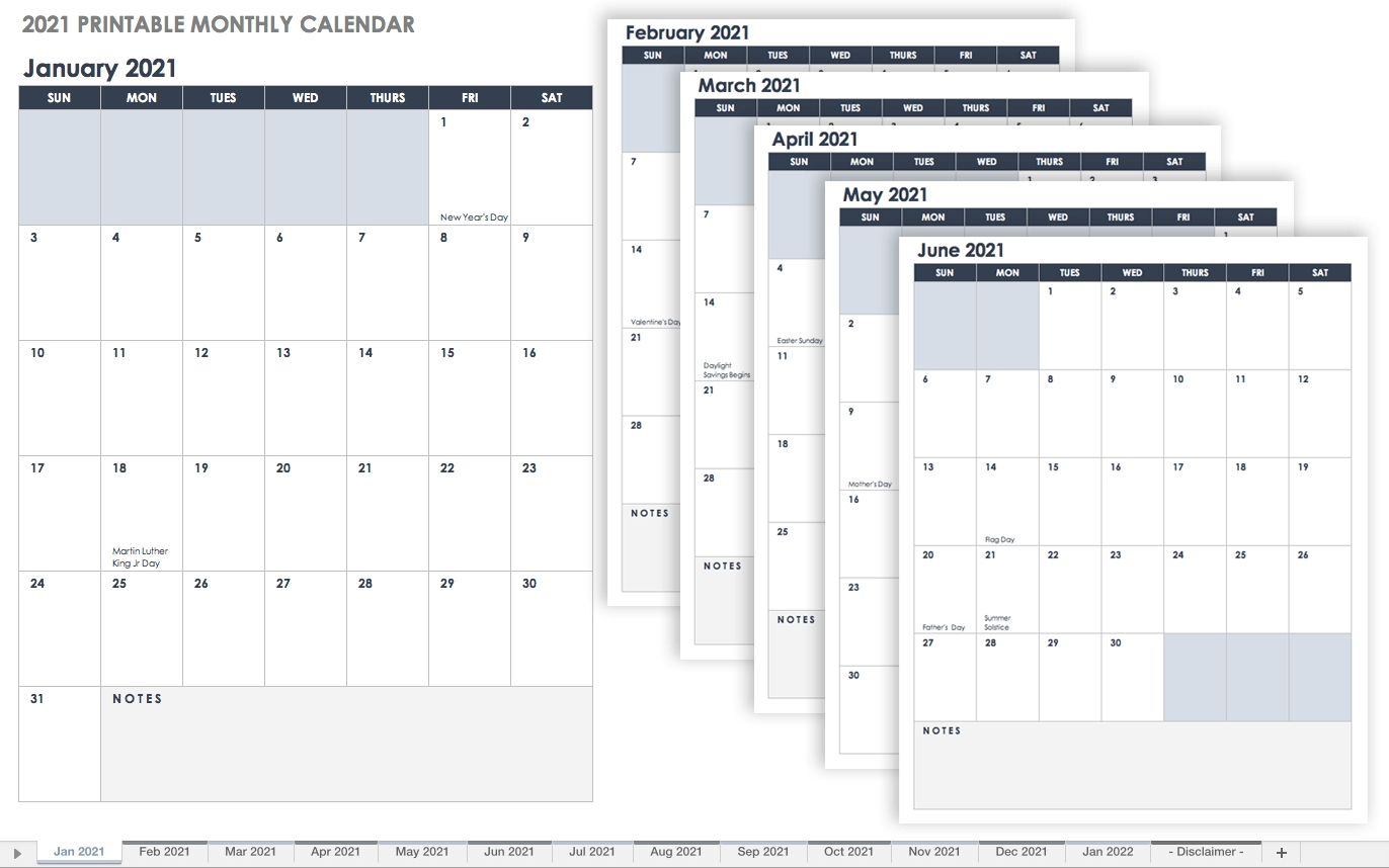 Take Free Printable Monthly Calendar No Download