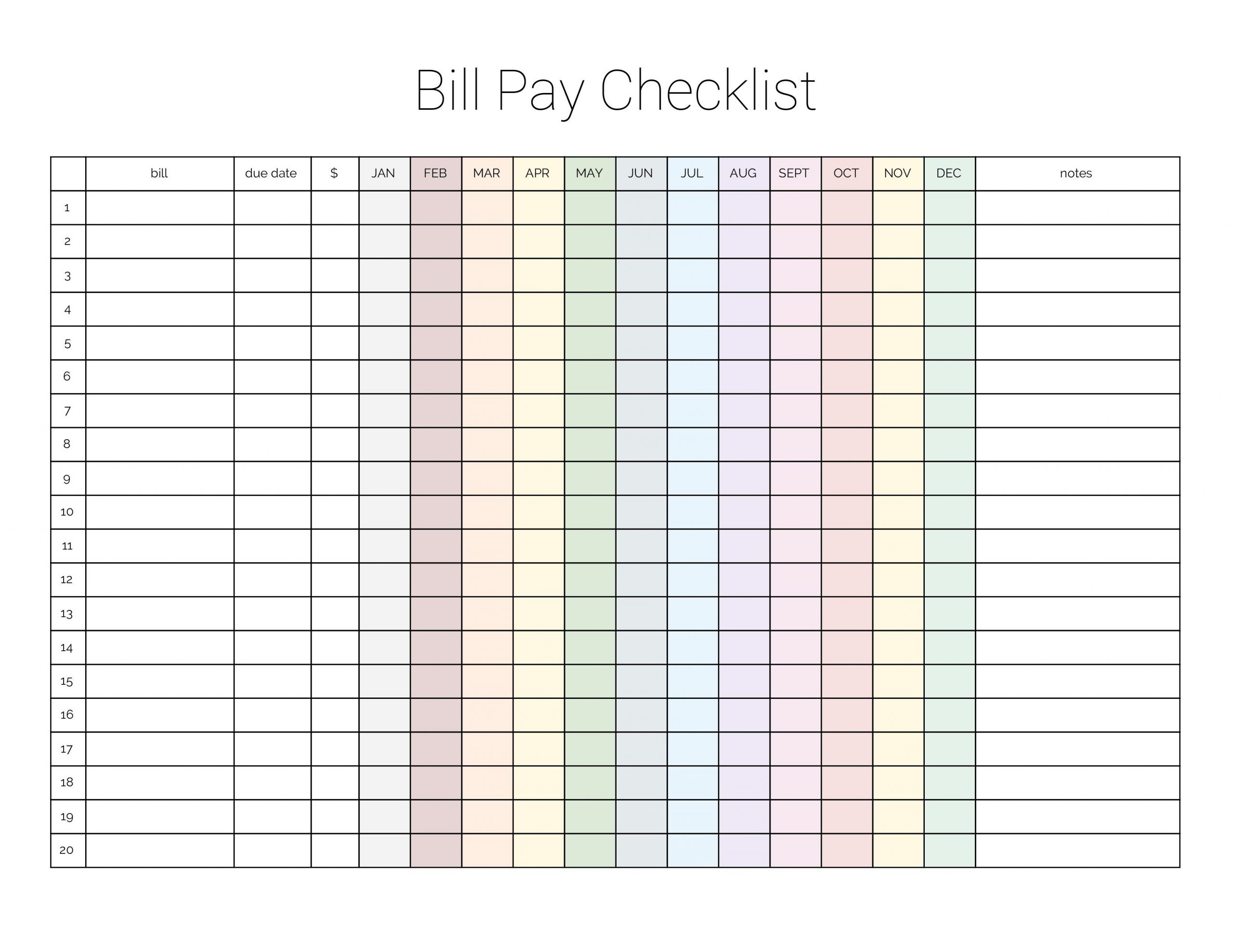 Take Free Printable Pdf Bill Pay Worksheets