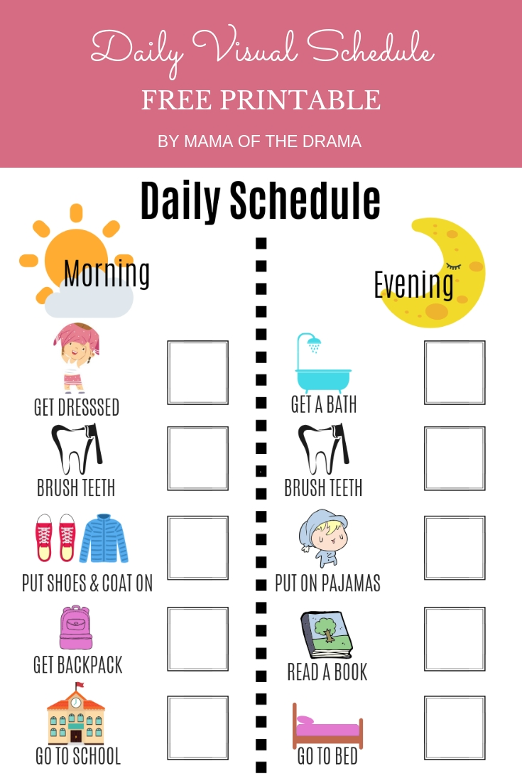 Take Free Printable Picture Schedules For Children