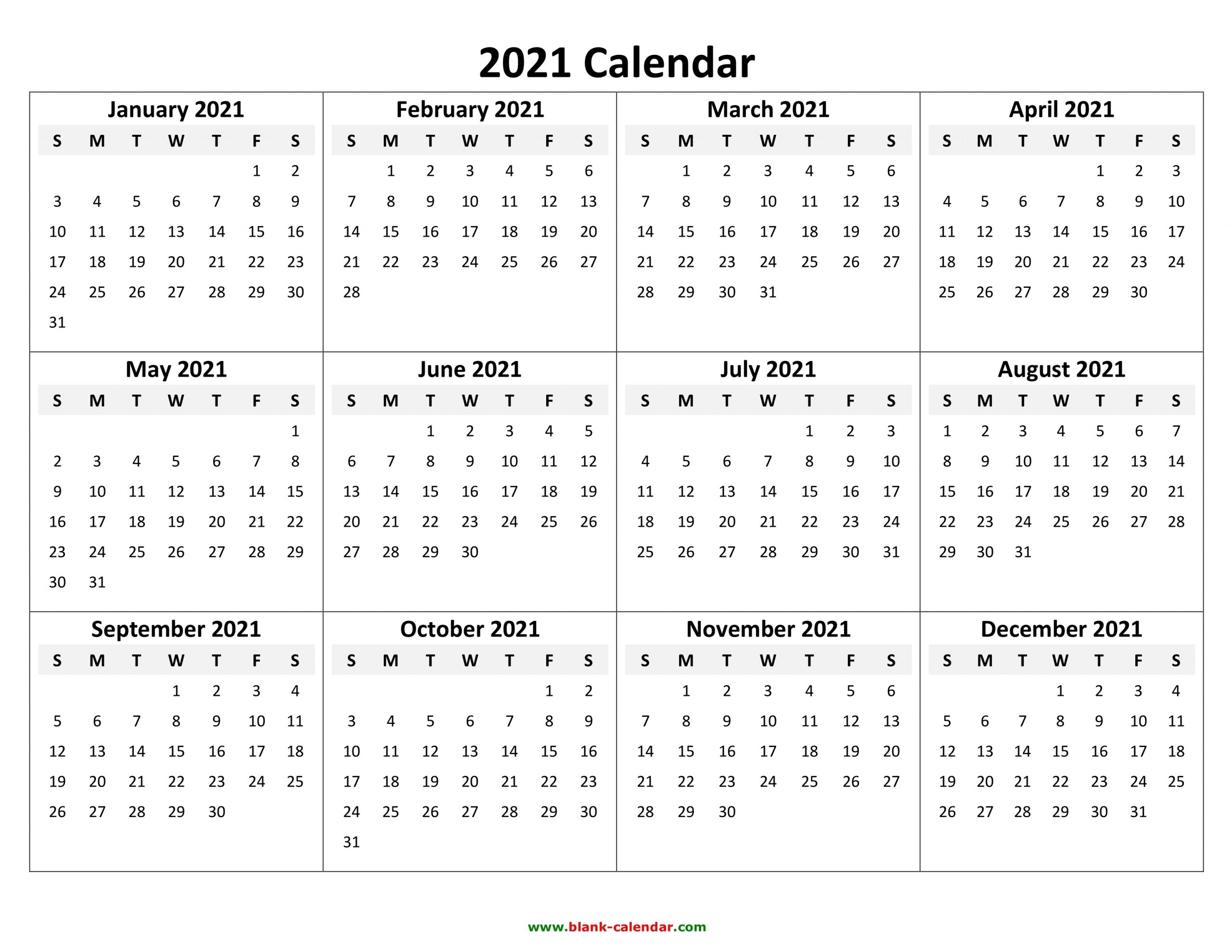 Take Free Printable Yearly Calendar 2021