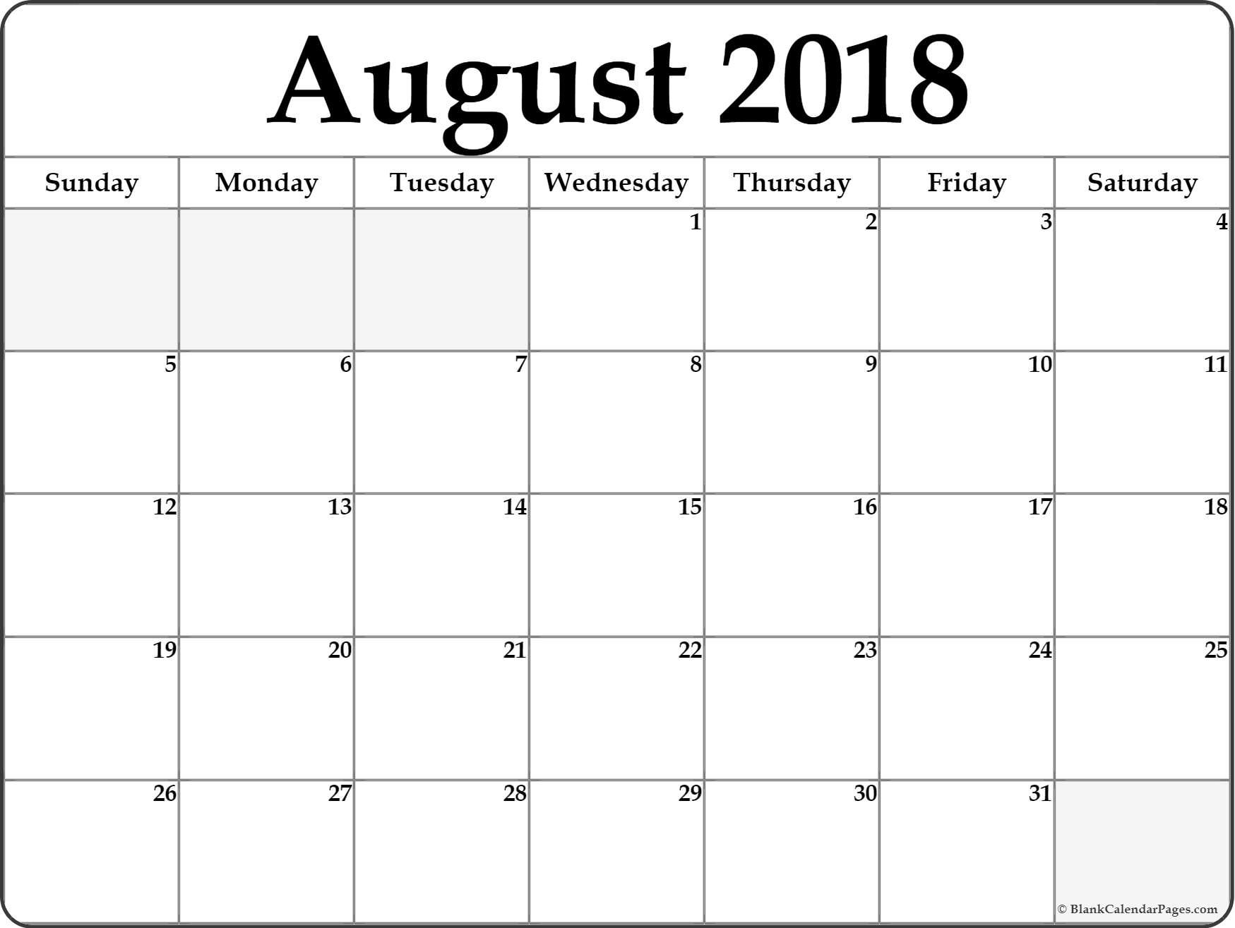 Take Full Page August Calendar Printable