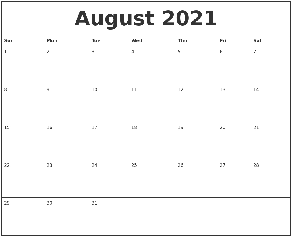 Take Full Page Calendar For August 2021 Printable