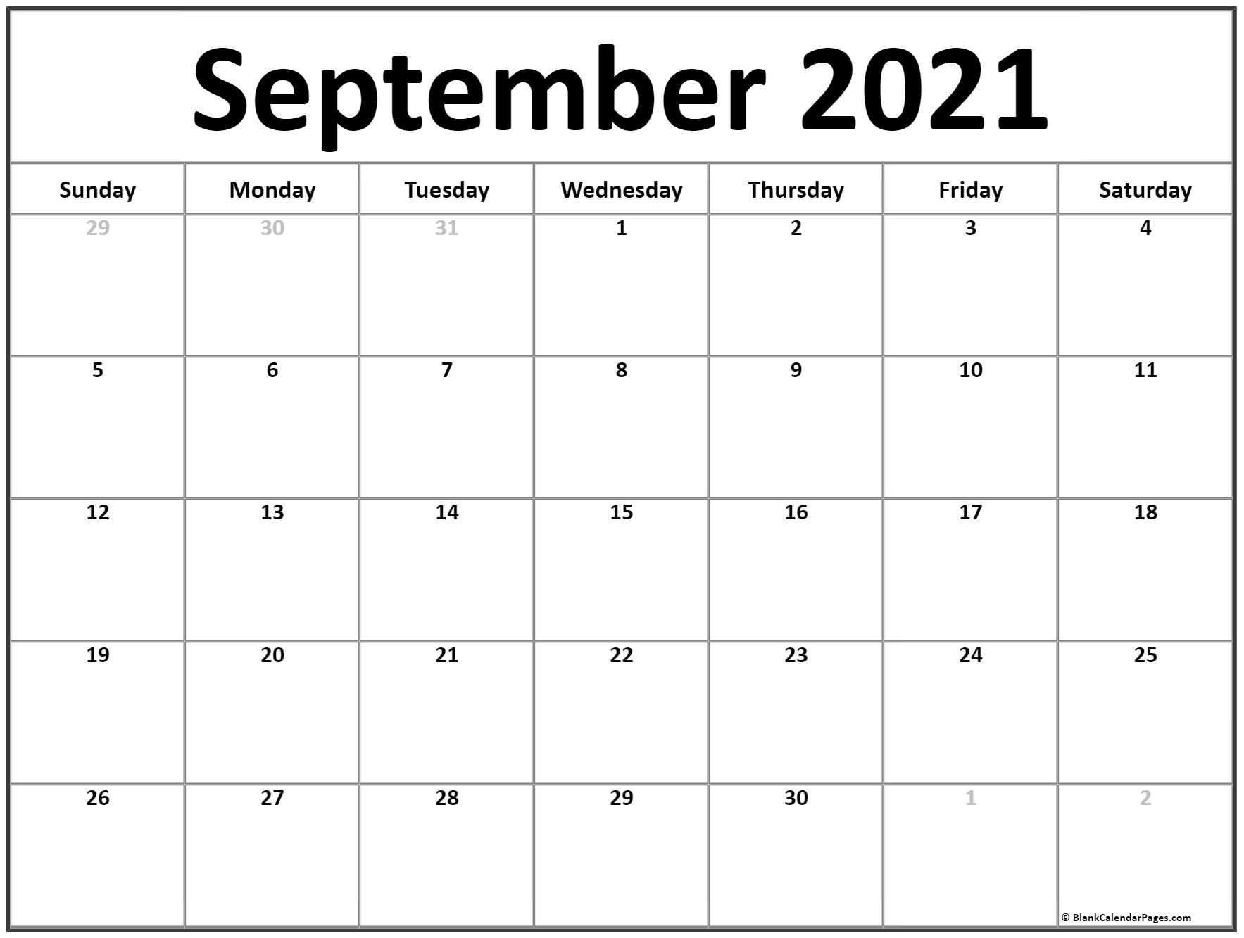 Take Full Size September 2021 Calendar Printable