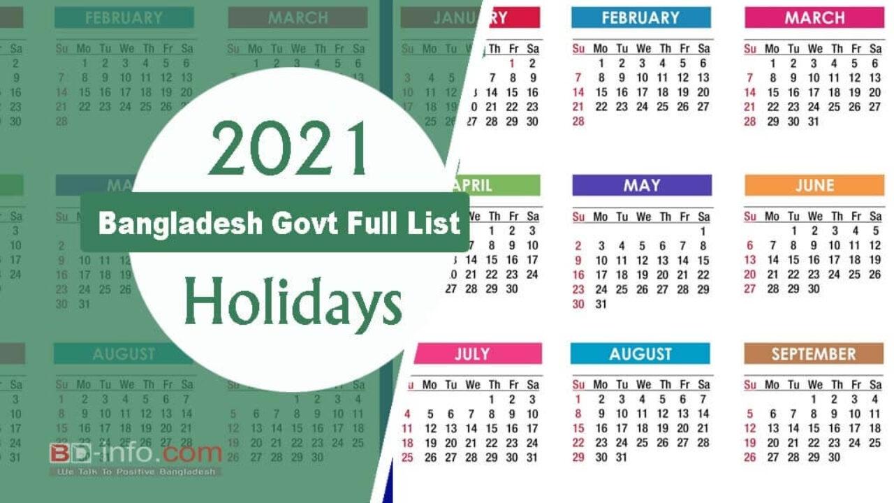 Take Government Holidays 2021