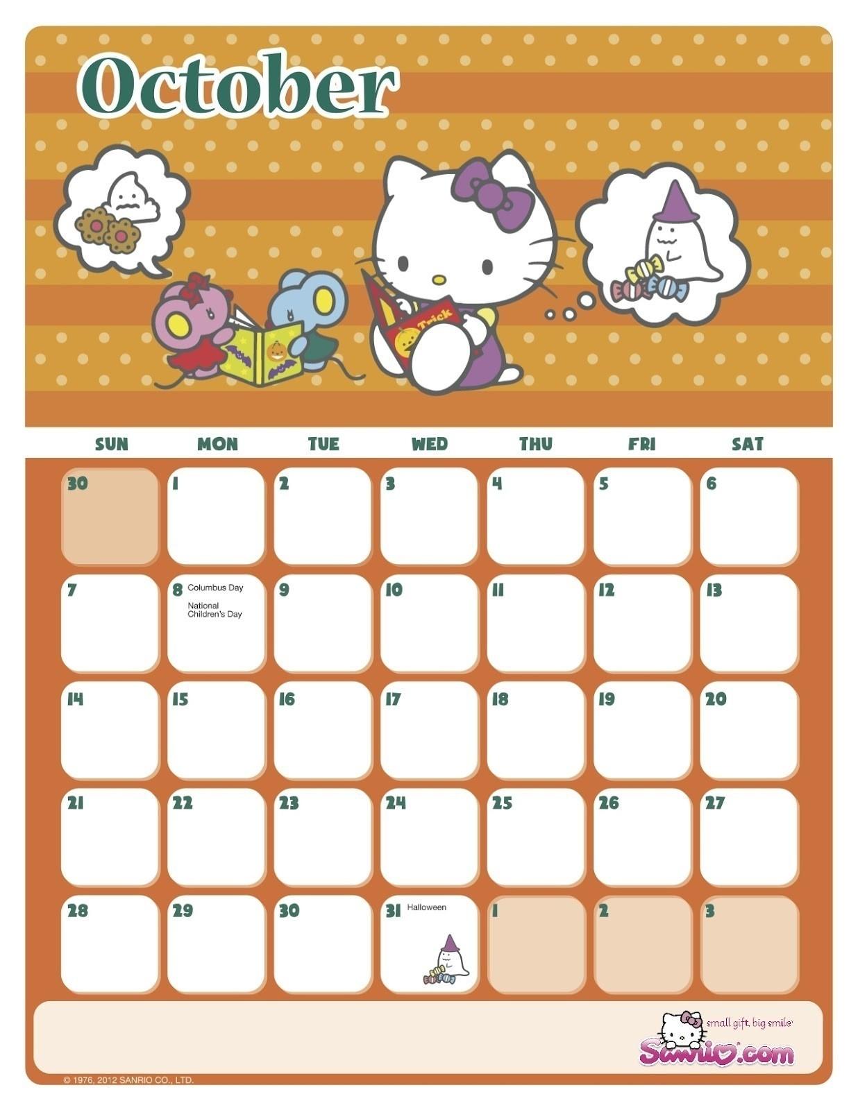 Take Hello Kitty Calendar Template