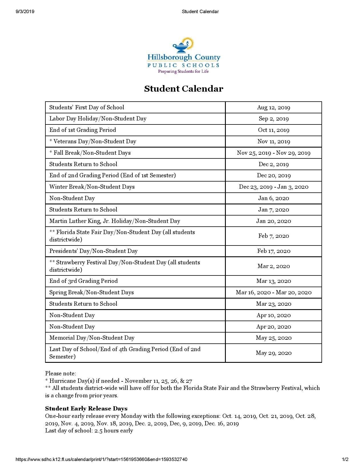 Take Hillsborough County School Calendar 2021